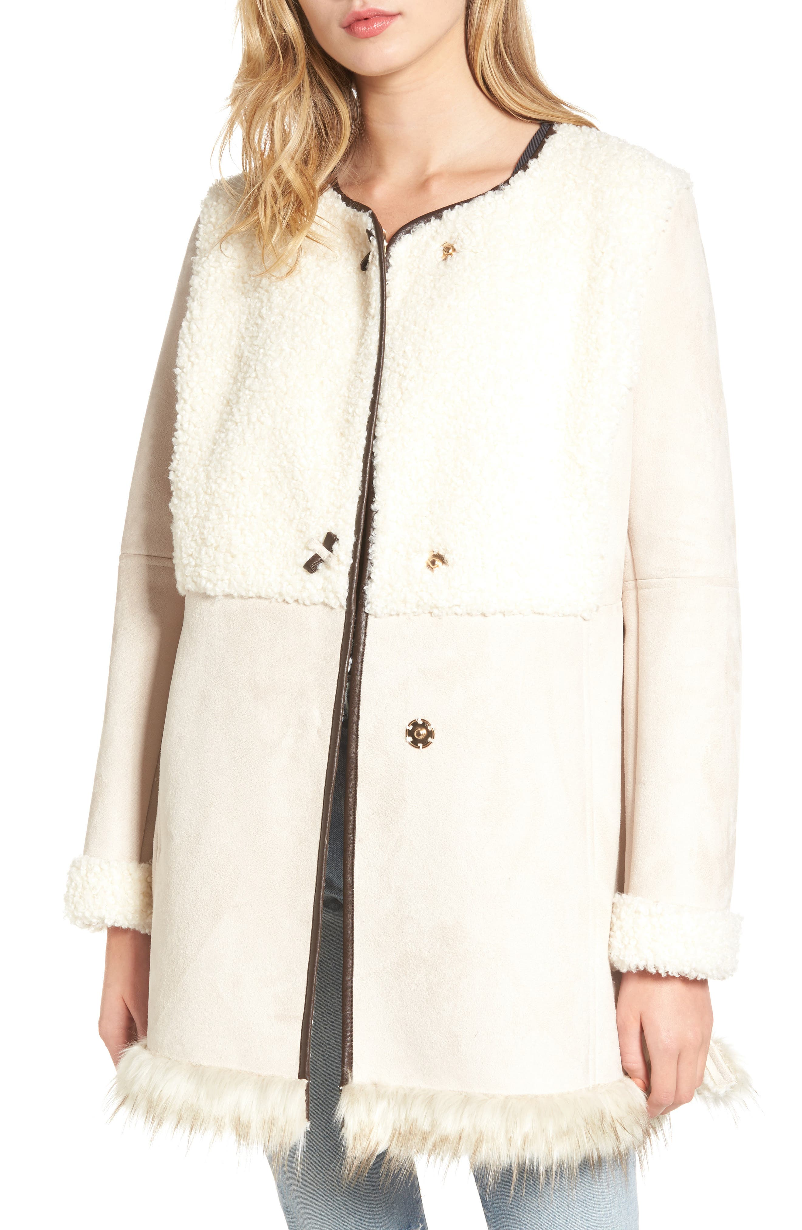 Main Image - Sam Edelman Faux Shearling Car Coat