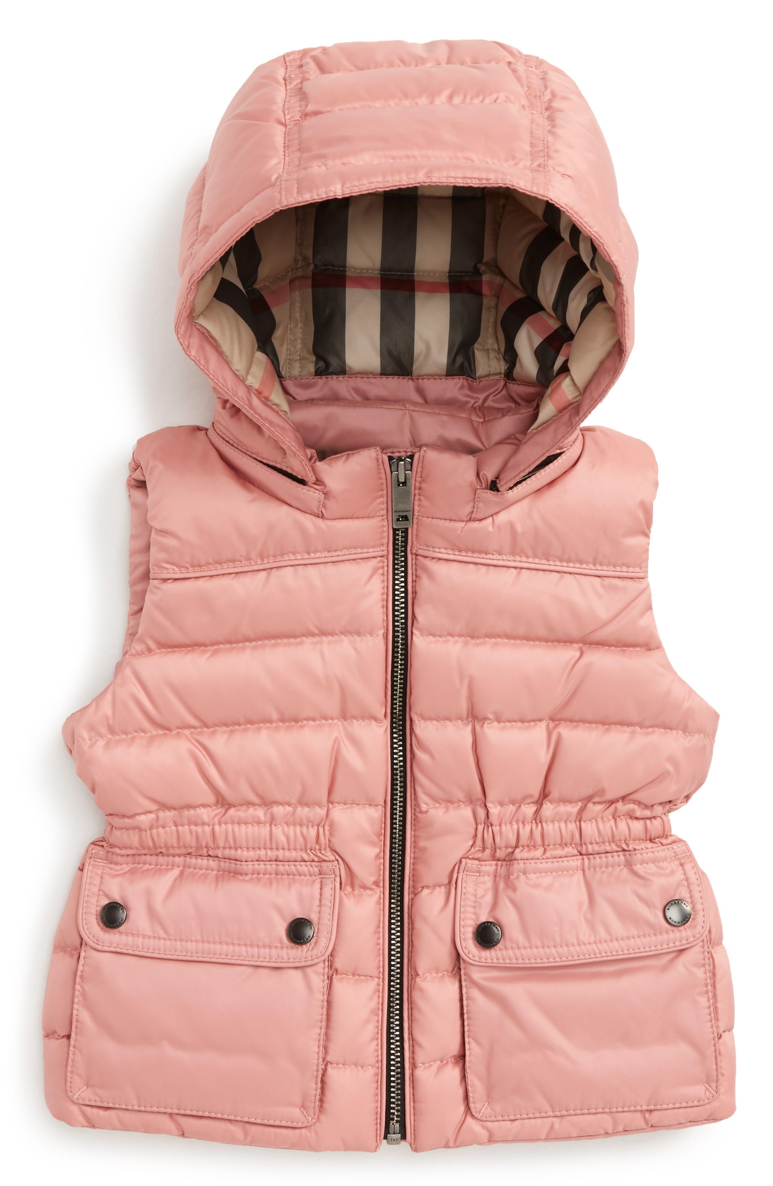 Main Image - Burberry Maggie Hooded Vest (Toddler Girls, Little Girls & Big Girls)