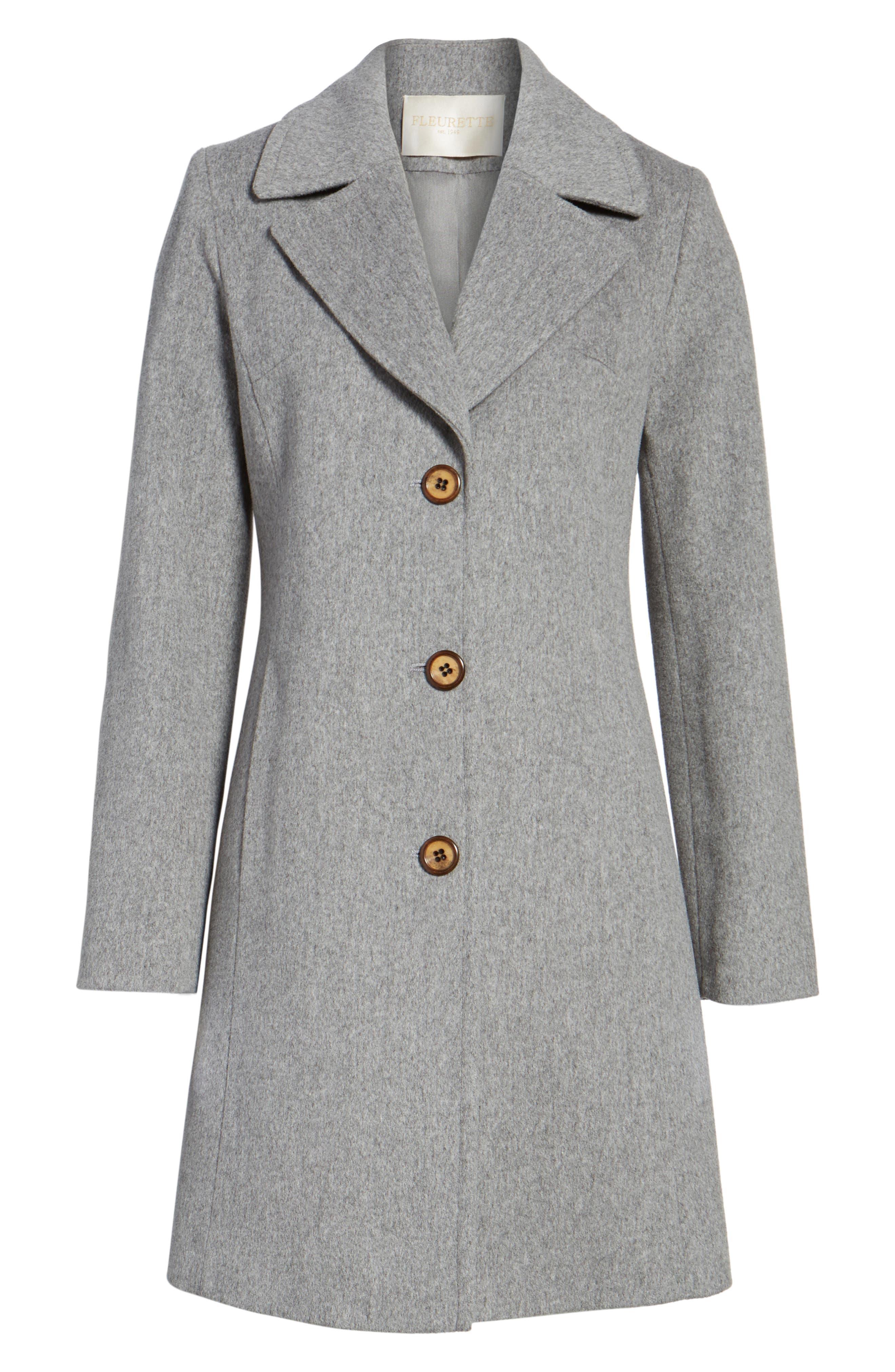 Alternate Image 6  - Fleurette Notch Collar Wool Walking Coat (Regular & Petite)