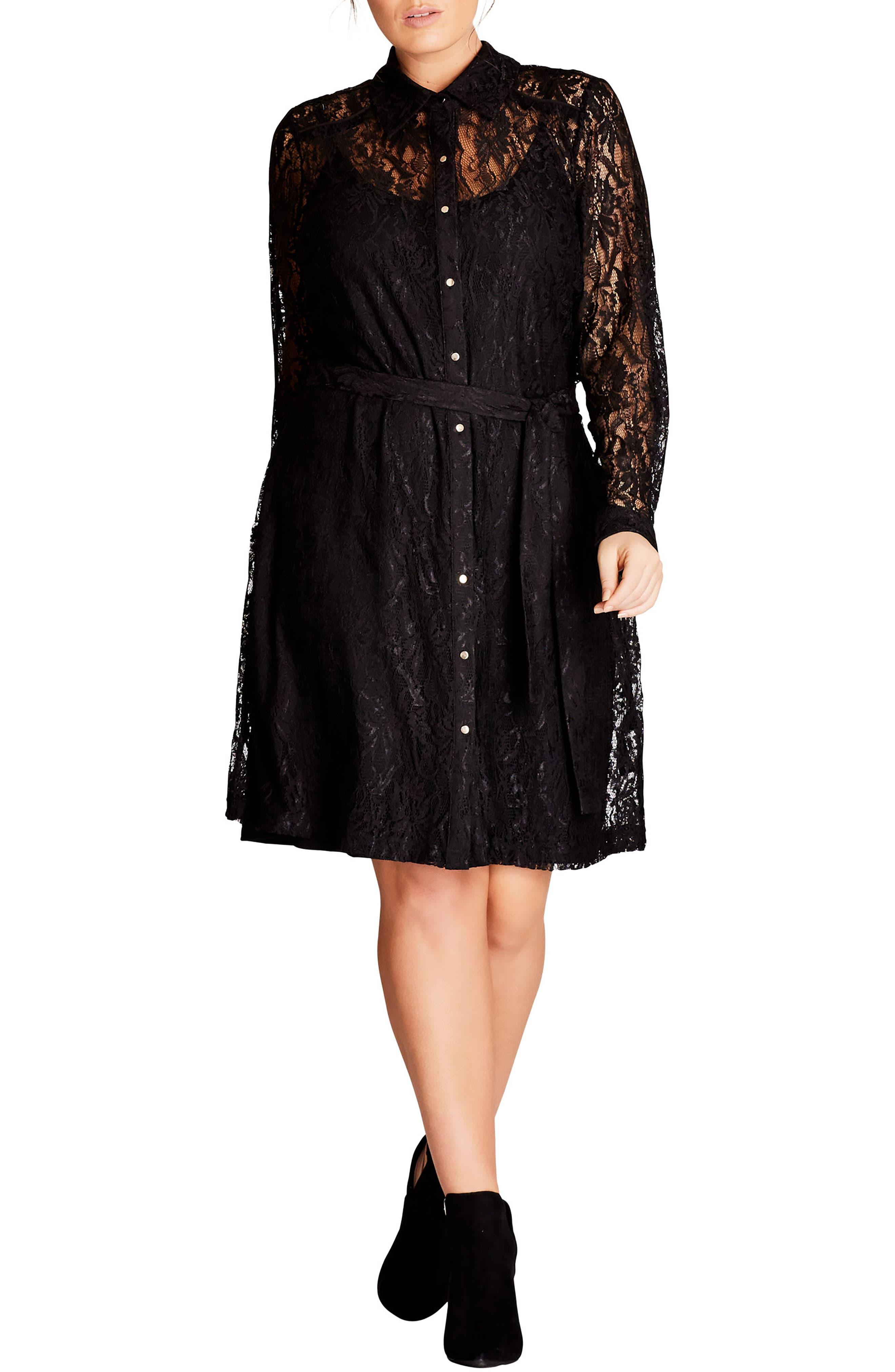 Sweet Collar Lace Shirtdress,                         Main,                         color, Black