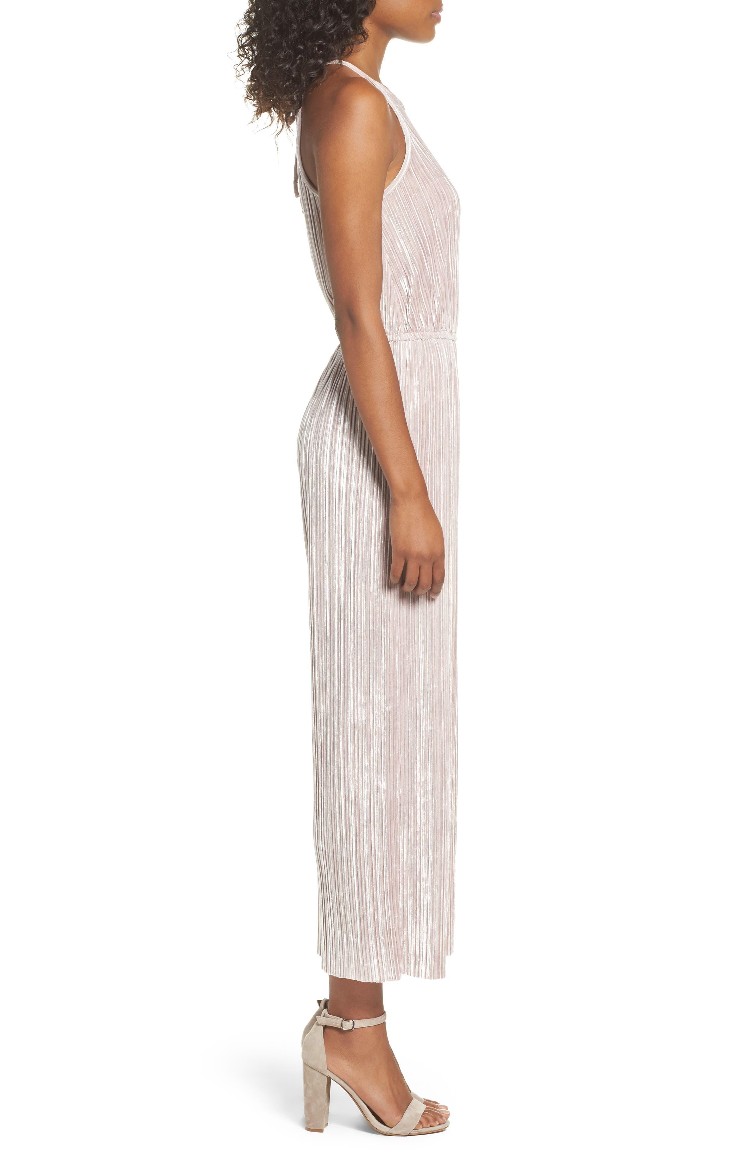Alternate Image 3  - 19 Cooper Pleated Velvet Jumpsuit