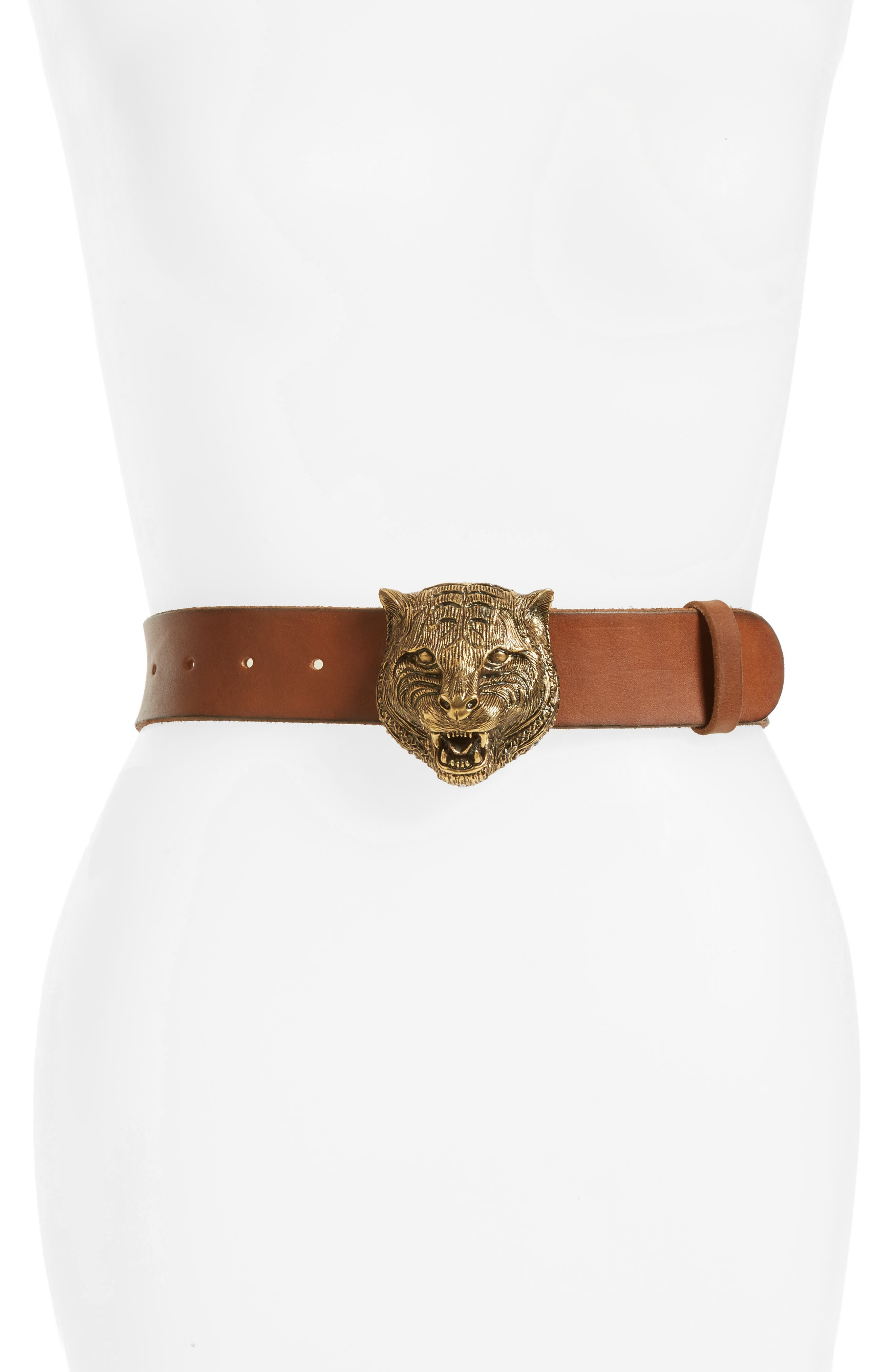 GUCCI Tiger Buckle Leather Belt