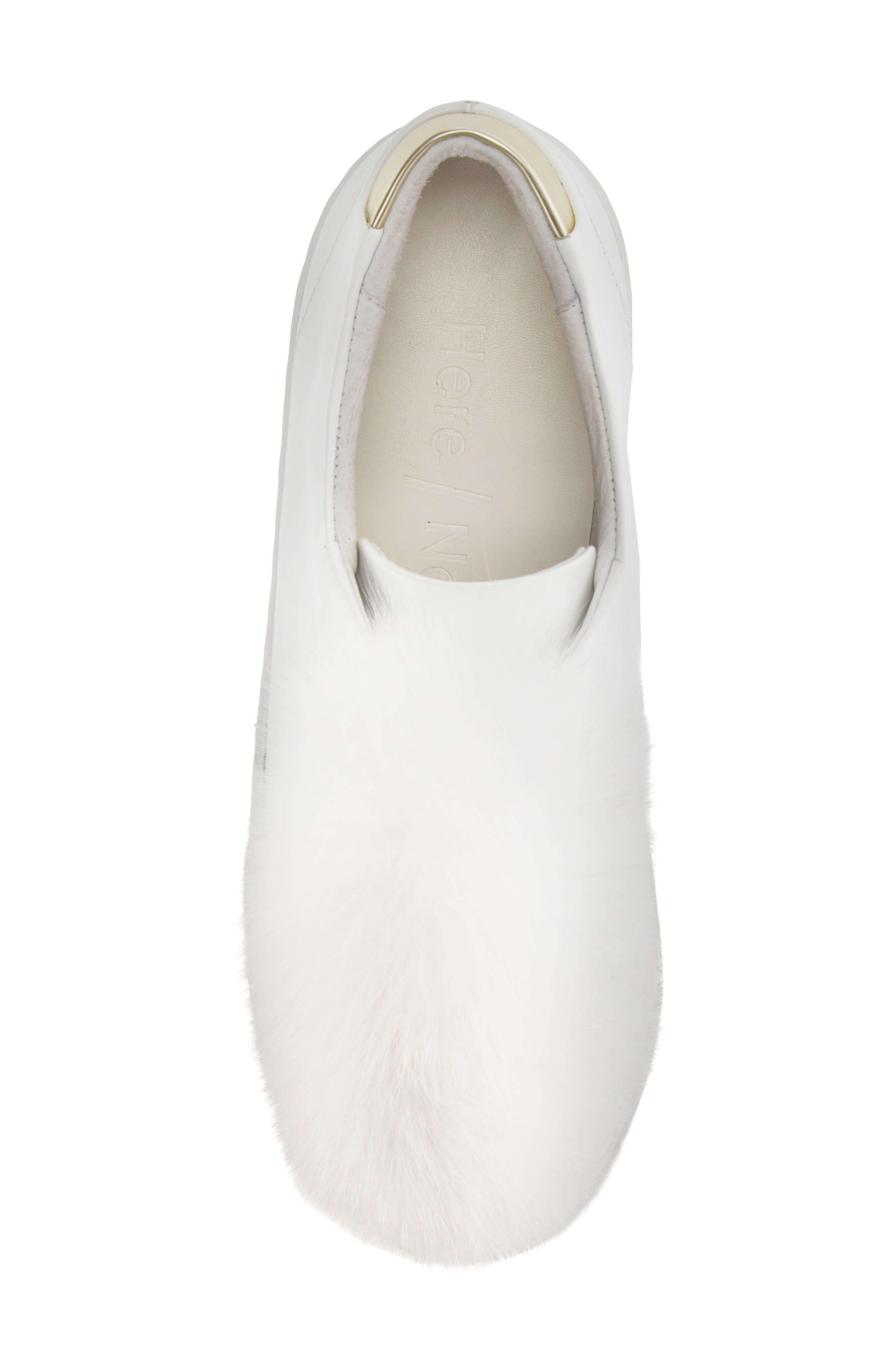Sugar Genuine Fox Fur Slip-On Sneaker,                             Alternate thumbnail 5, color,                             White Leather