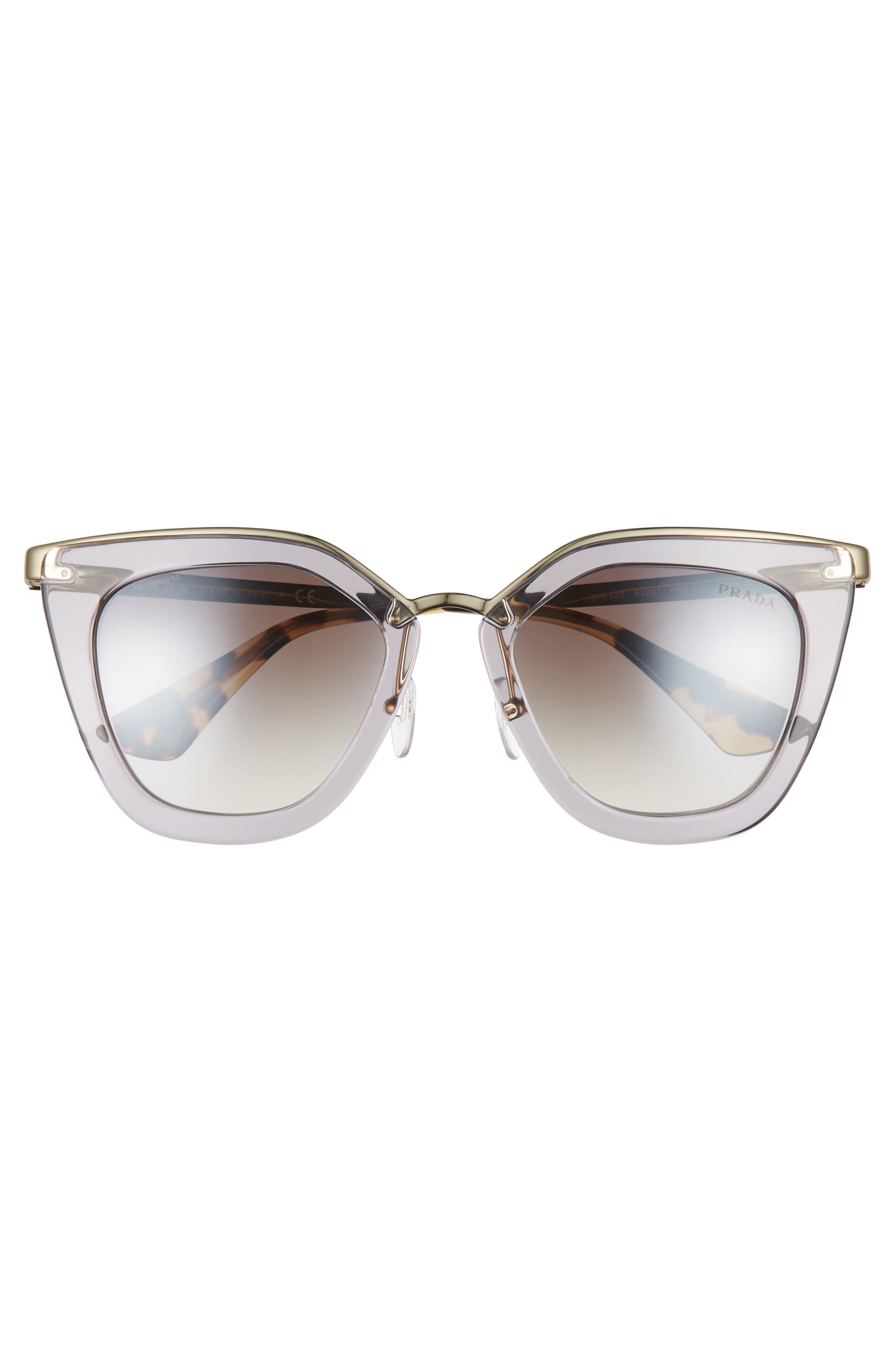 52mm Gradient Cat Eye Sunglasses,                             Alternate thumbnail 3, color,                             Transparent Grey
