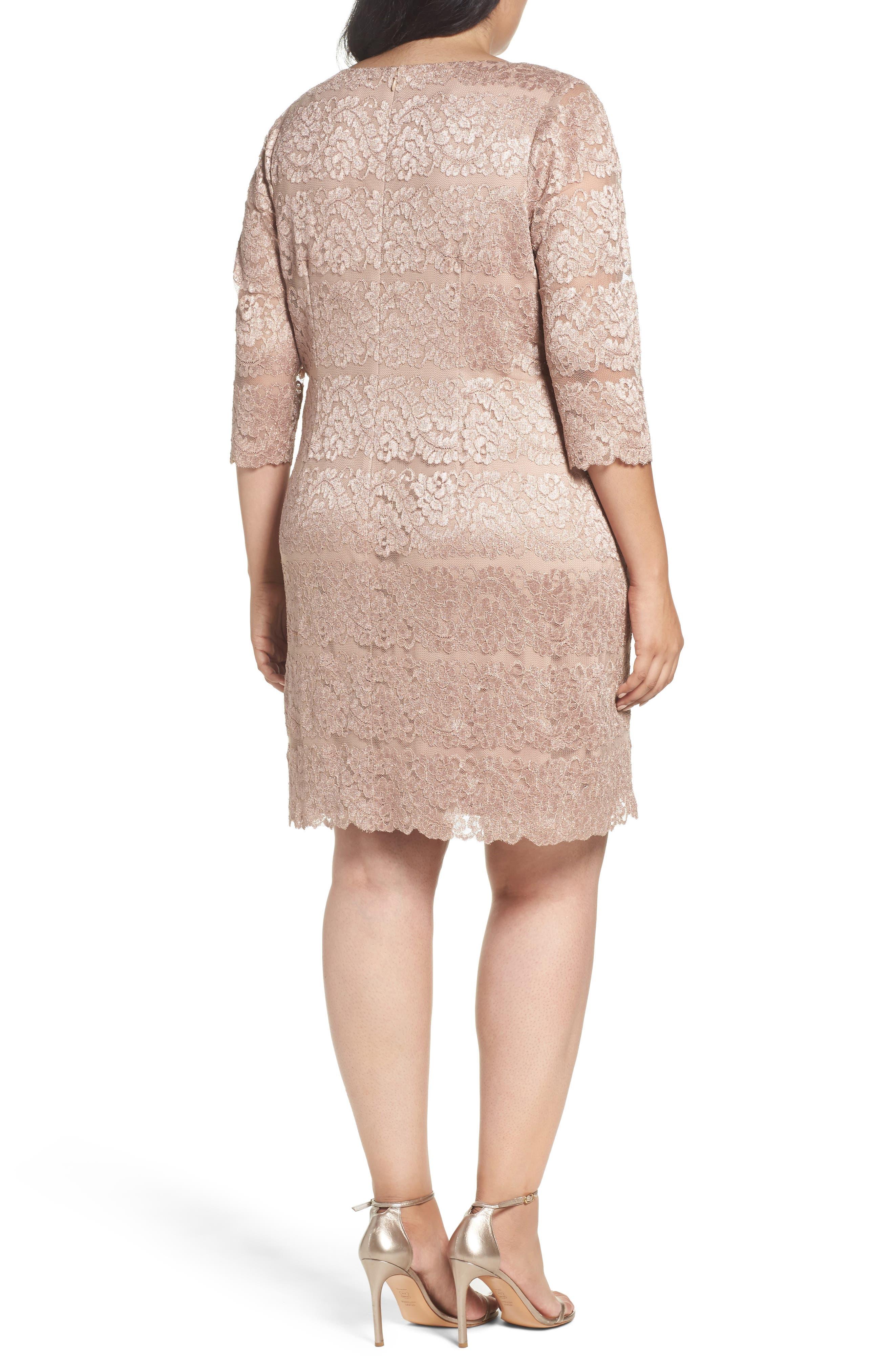 Lace Shift Dress,                             Alternate thumbnail 2, color,                             Almond