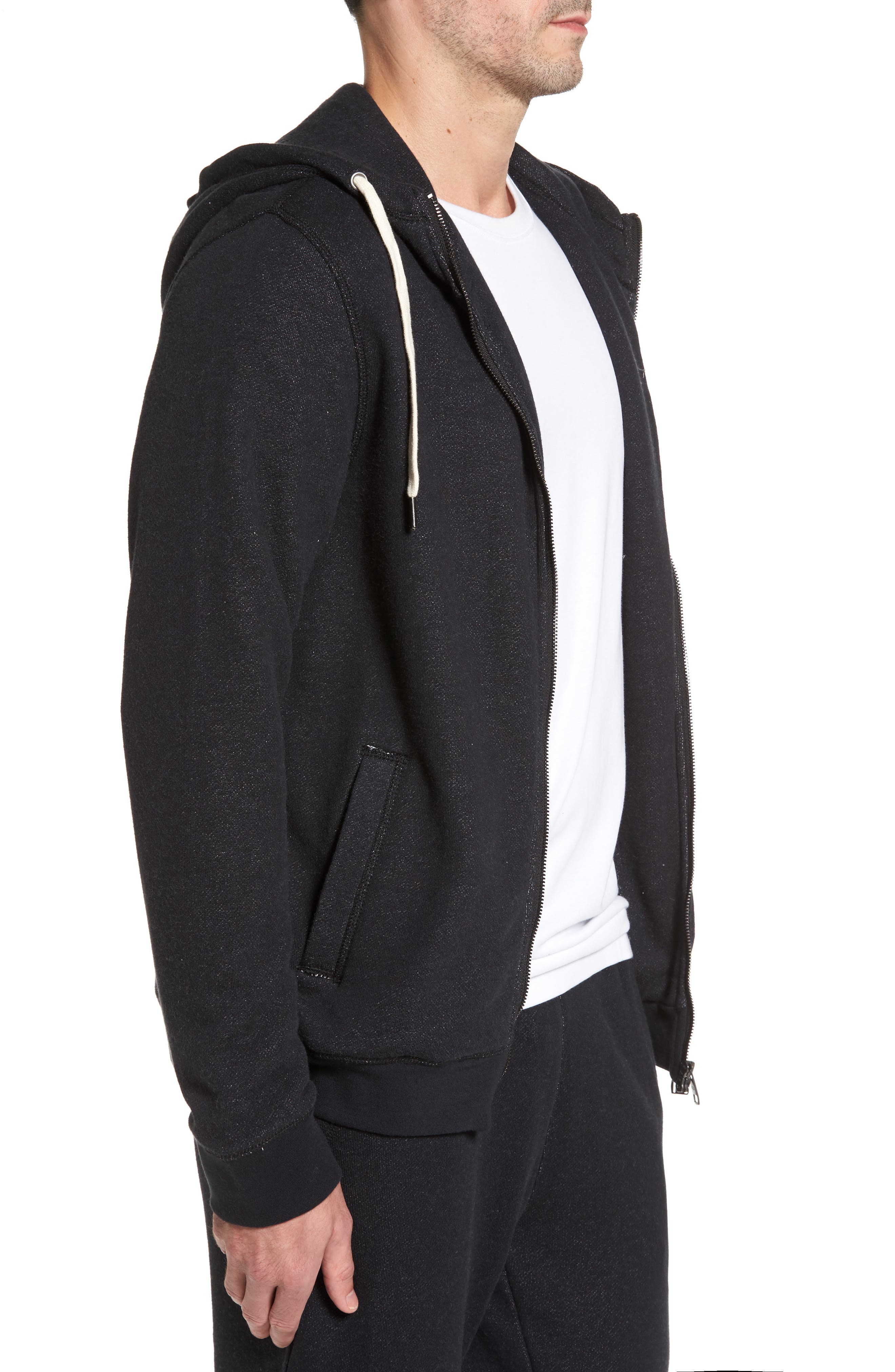 French Terry Full Zip Hoodie,                             Alternate thumbnail 3, color,                             Black