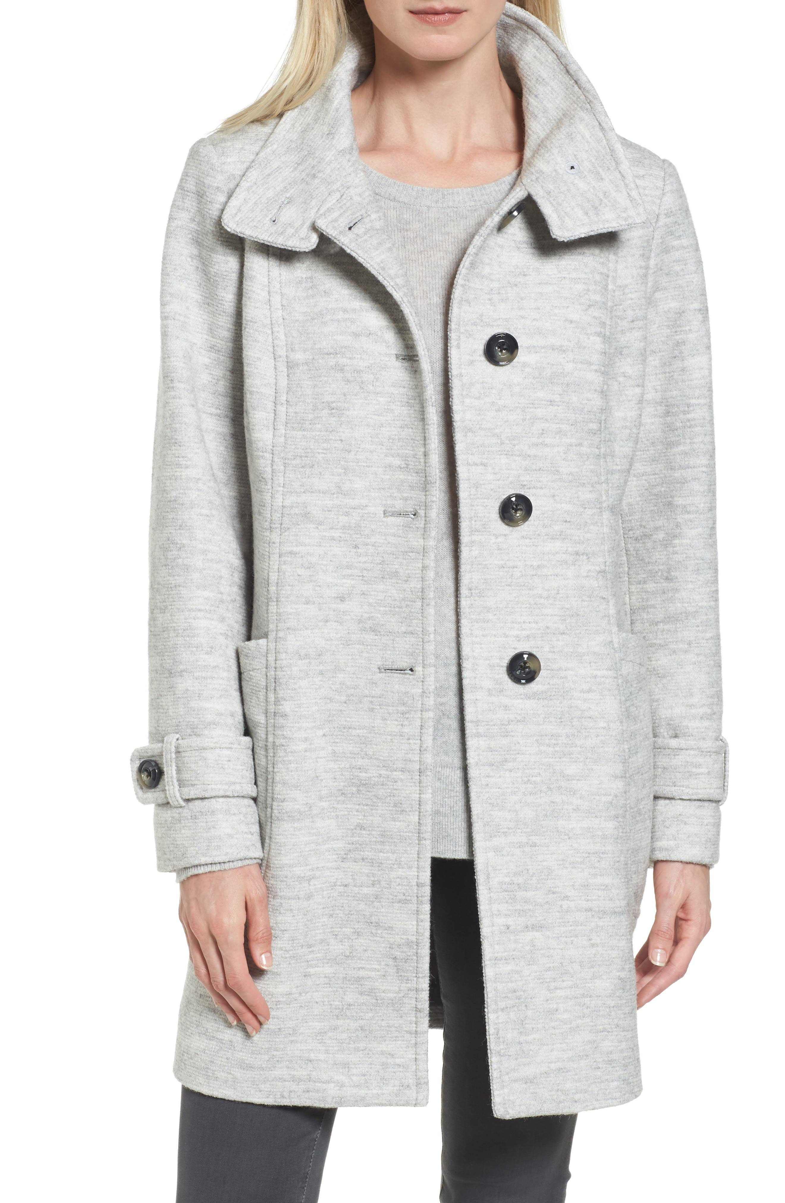 Stand Collar Coat,                             Main thumbnail 1, color,                             Pale Grey