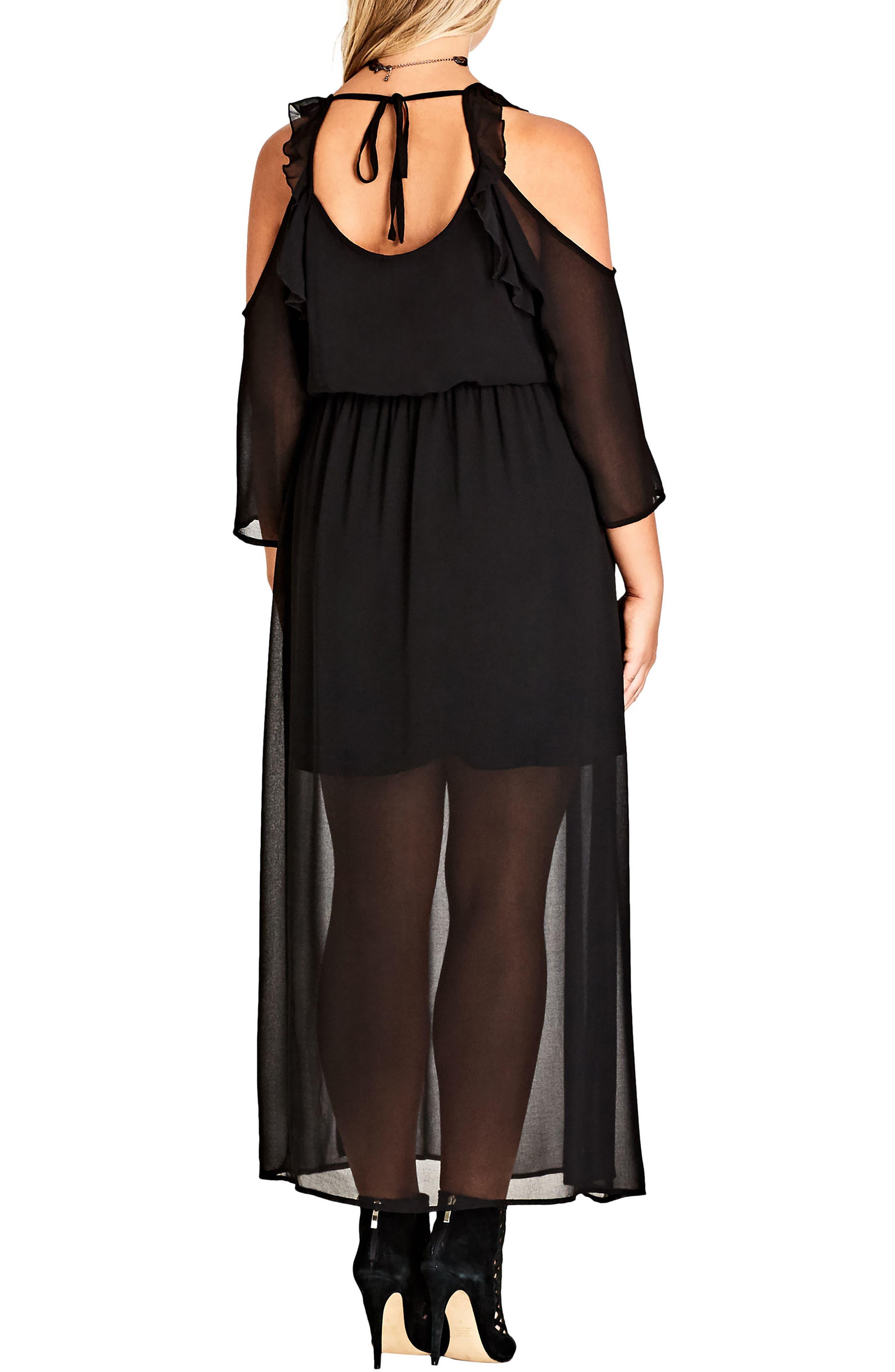 Alternate Image 2  - City Chic Cold Shoulder Maxi Dress (Plus Size)