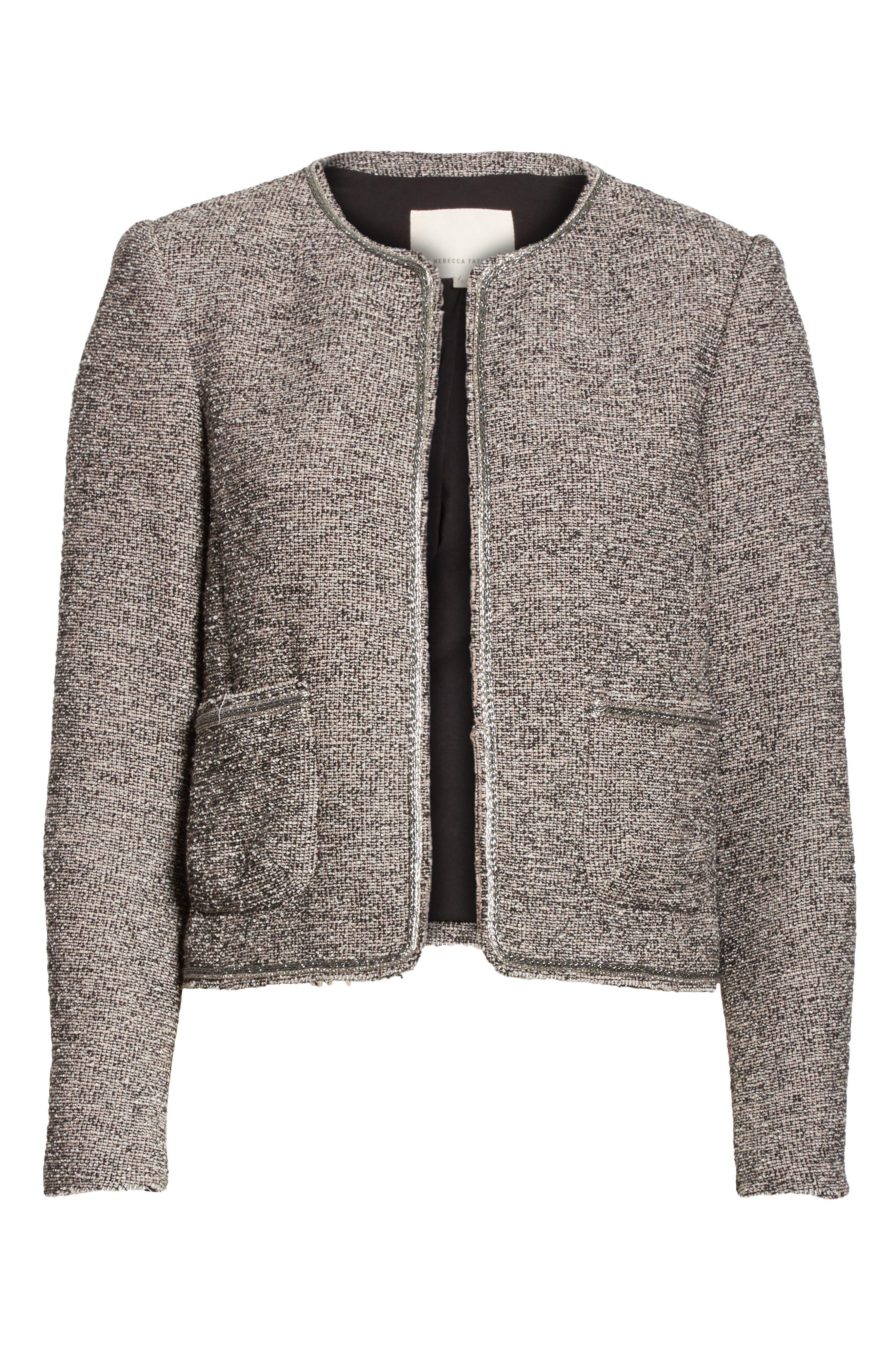 Embellished Stretch Tweed Jacket,                             Alternate thumbnail 6, color,                             Nude Combo