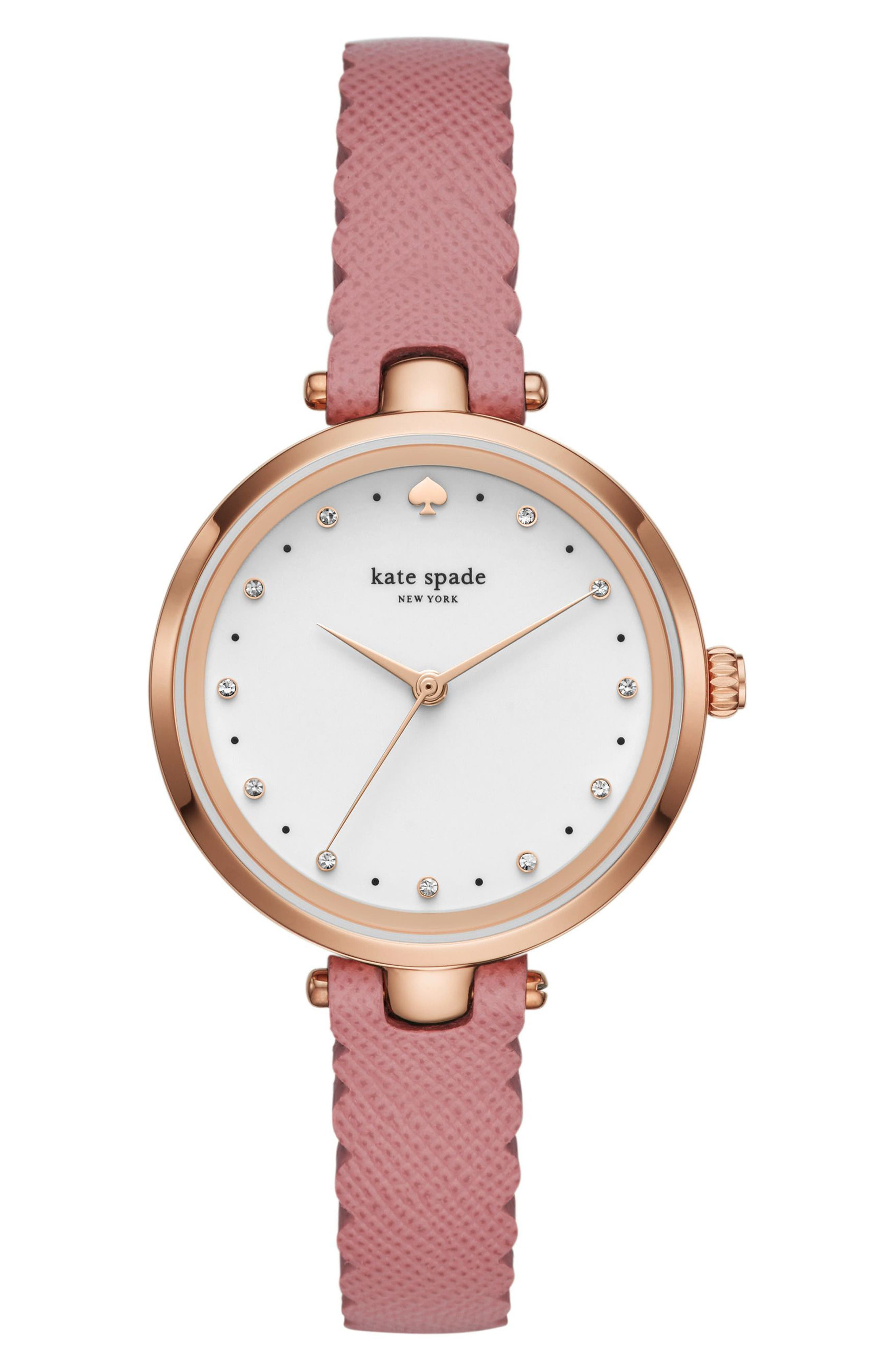 holland leather strap watch, 34mm,                         Main,                         color, Pink/ White/ Rose Gold