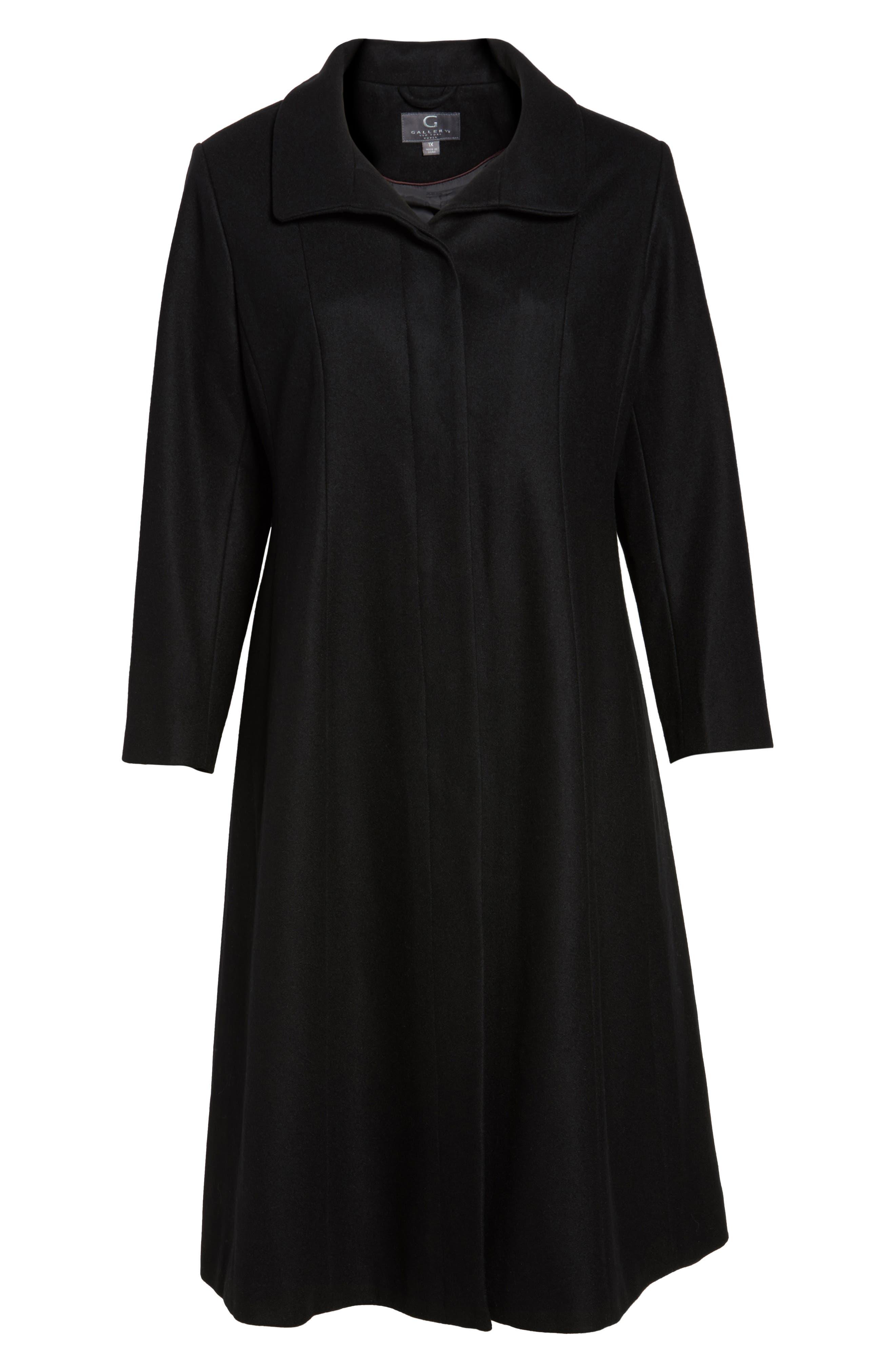 Full Length Wool Blend Coat,                             Alternate thumbnail 6, color,                             Black