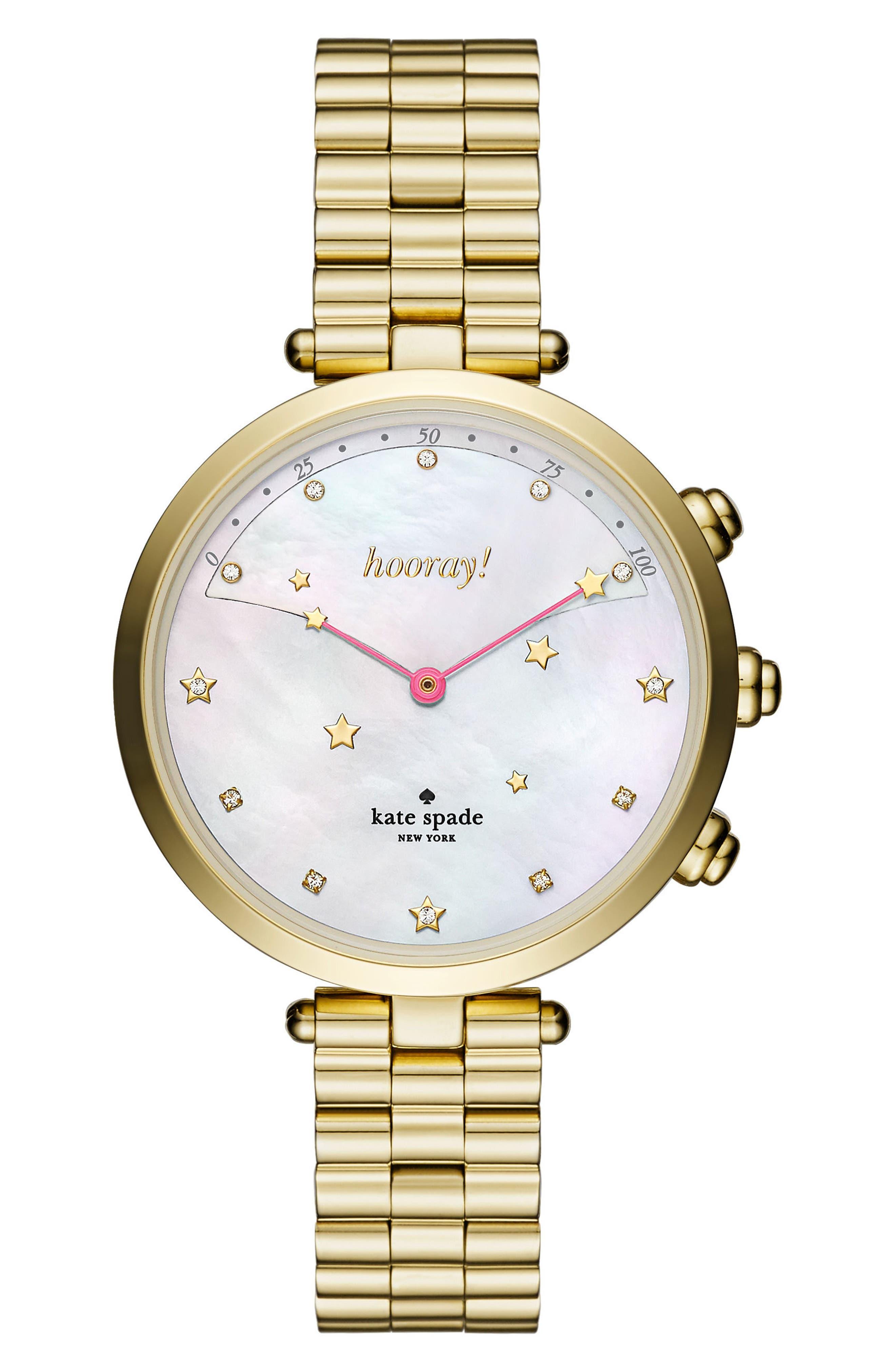 holland hybrid bracelet watch, 37mm,                         Main,                         color, Gold/ Mop/ Gold