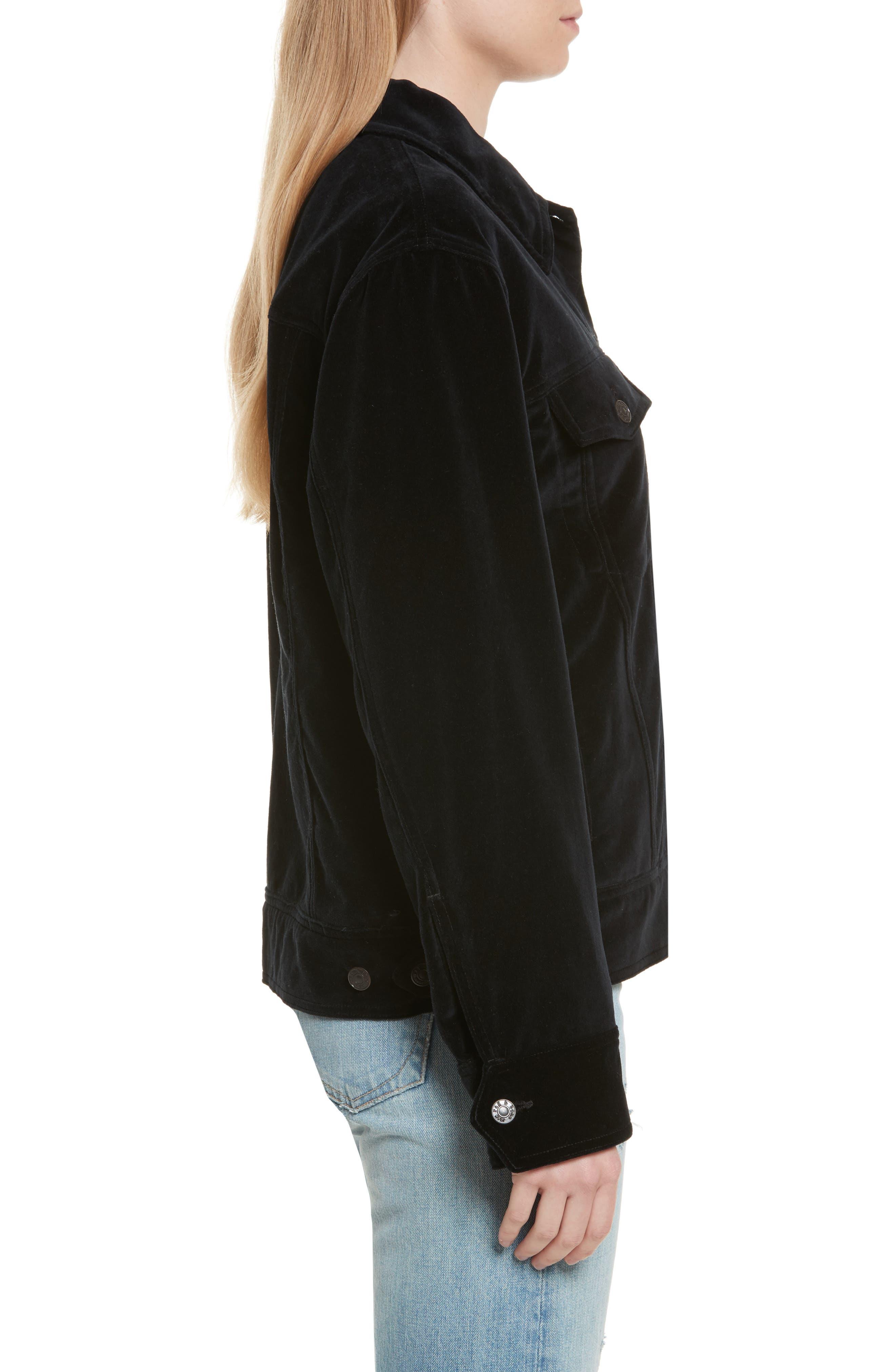 Oversize Velvet Jacket,                             Alternate thumbnail 3, color,                             Black Velvet
