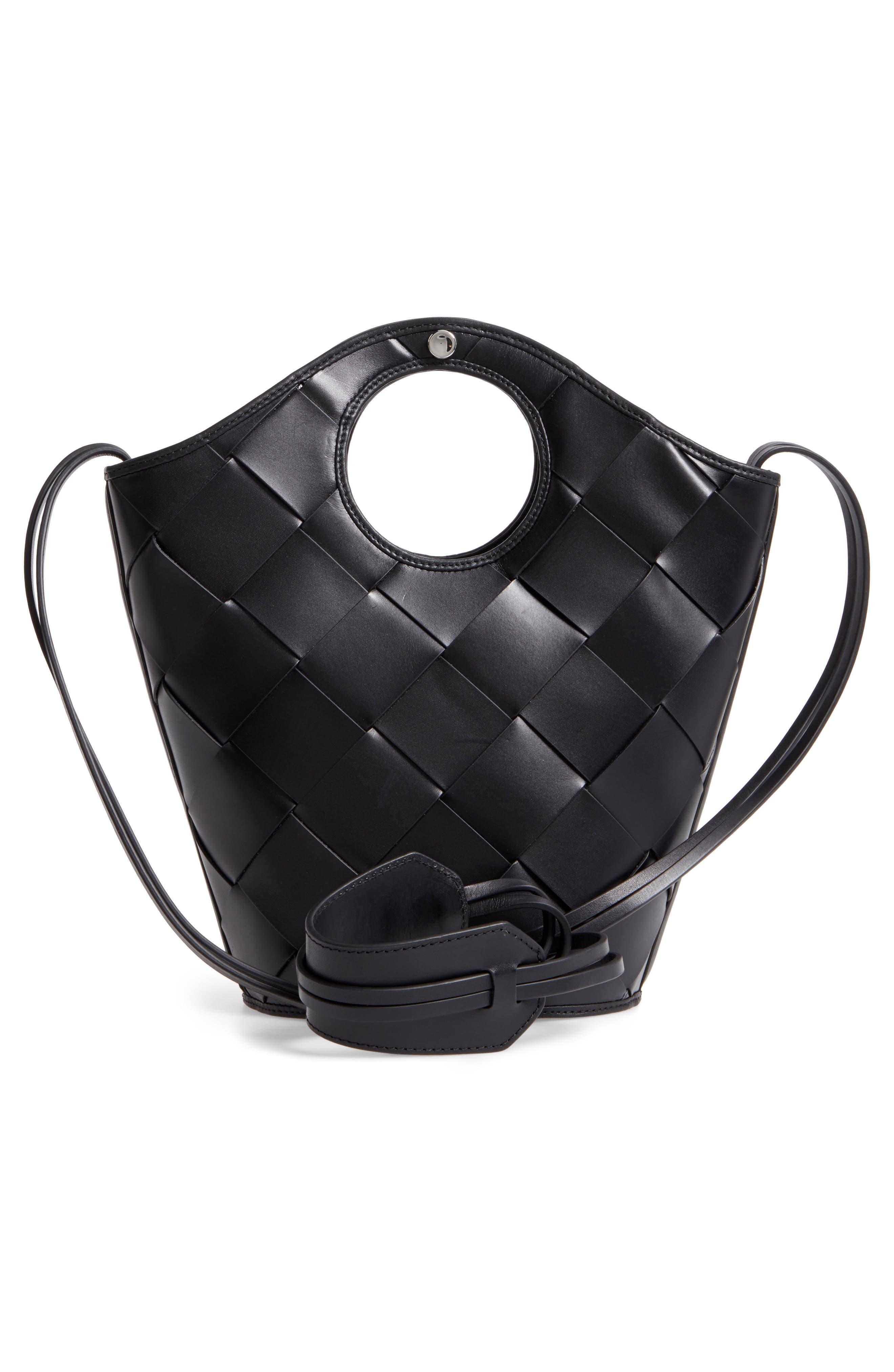 Small Market Woven Leather Crossbody Shopper,                             Alternate thumbnail 3, color,                             Black