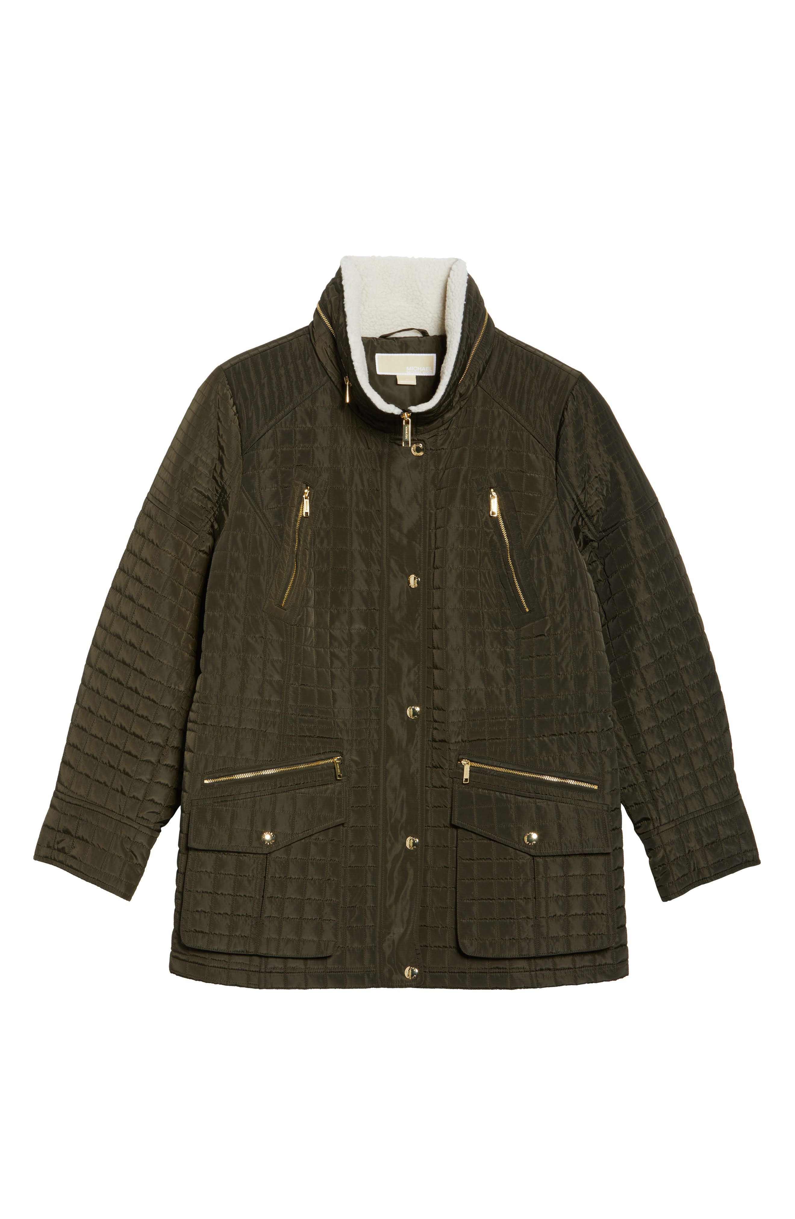 Quilted Jacket with Faux Shearling Trim,                             Alternate thumbnail 6, color,                             Dark Moss