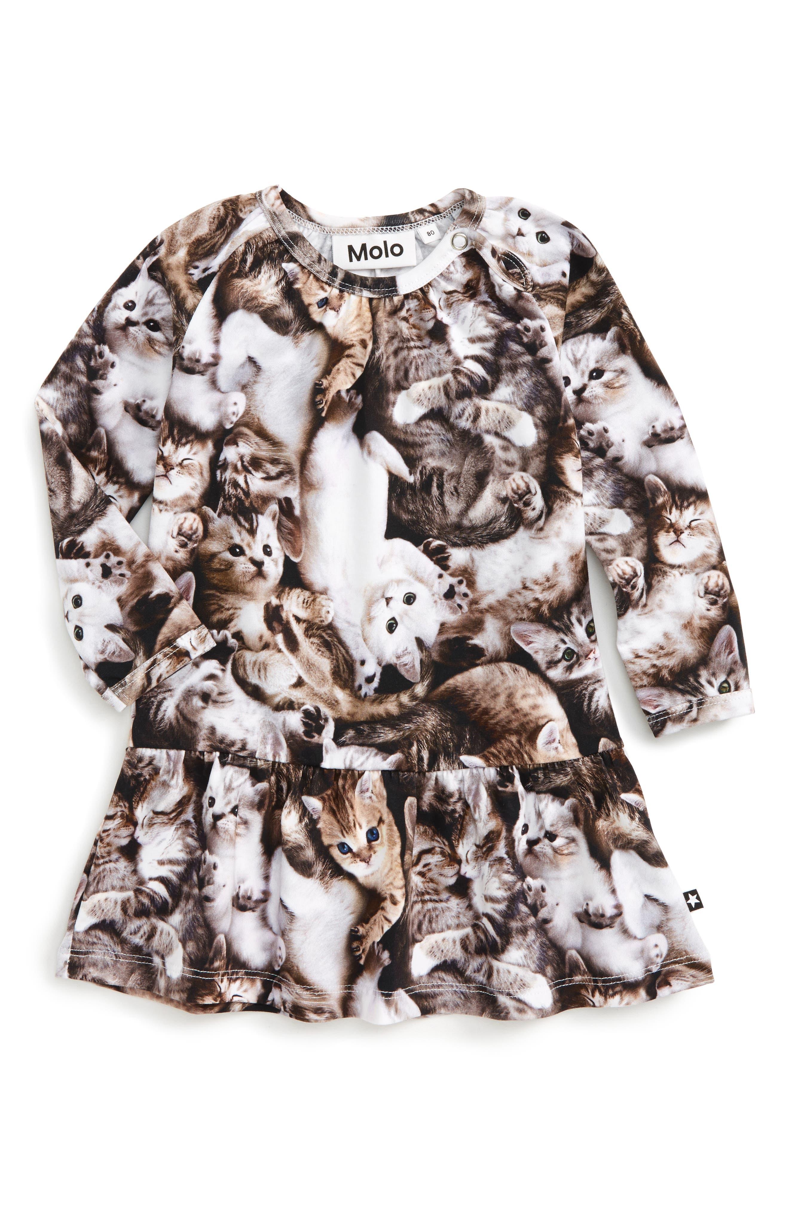 Cammon Print Dress,                         Main,                         color, Kittens