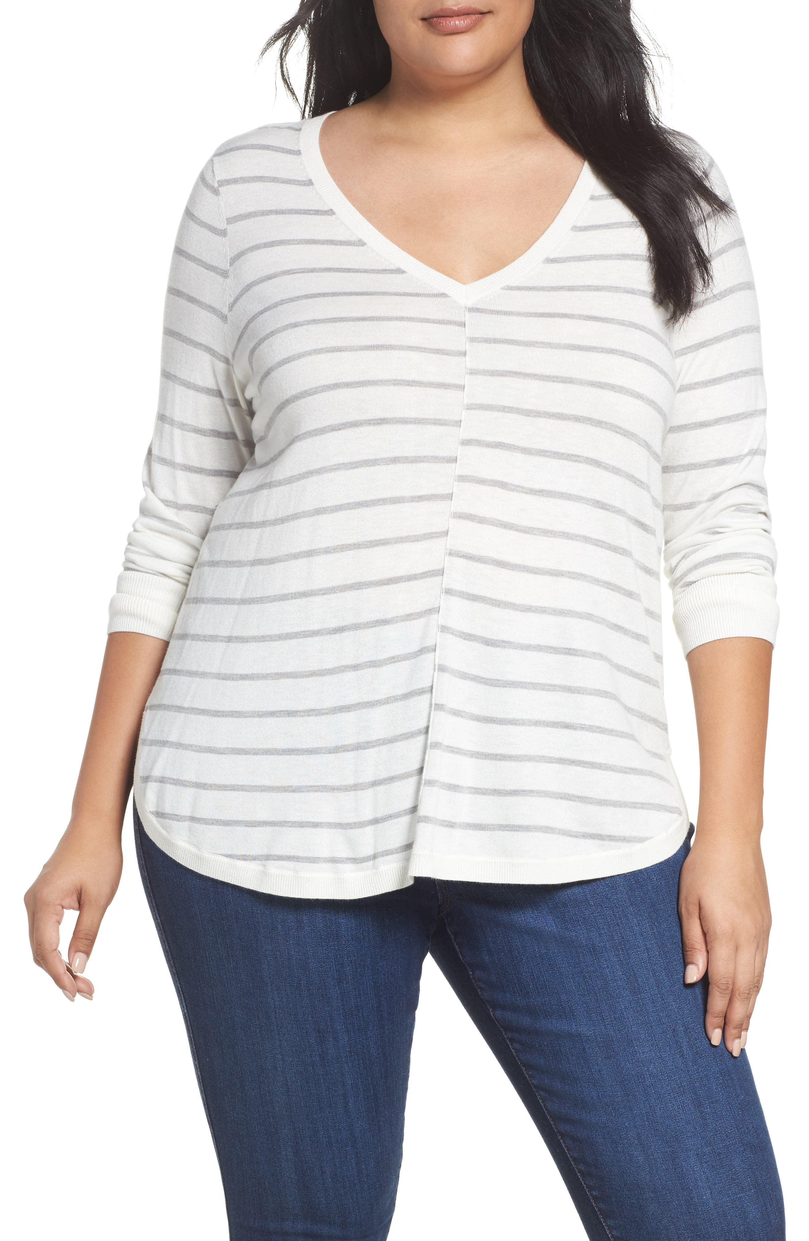 Caslon® Marled V-Neck Sweater (Plus Size)