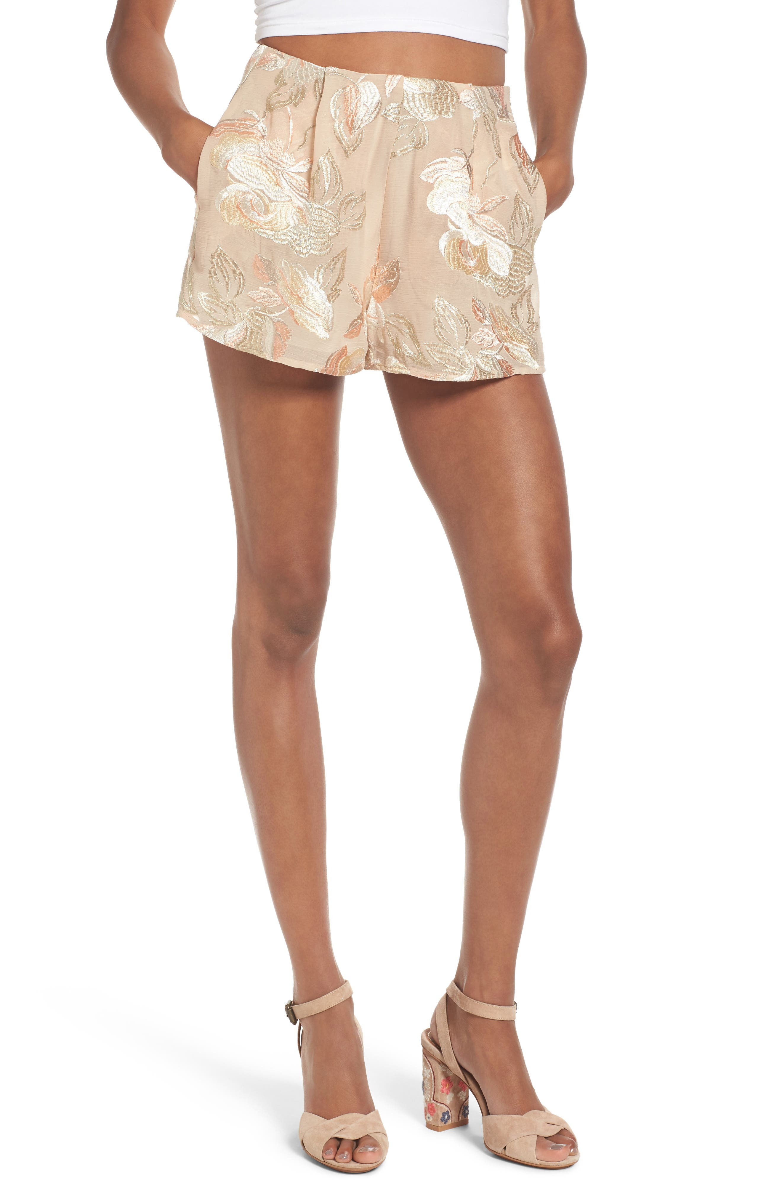 Sawyer High Waist Shorts,                             Main thumbnail 1, color,                             Very Fairy Floral