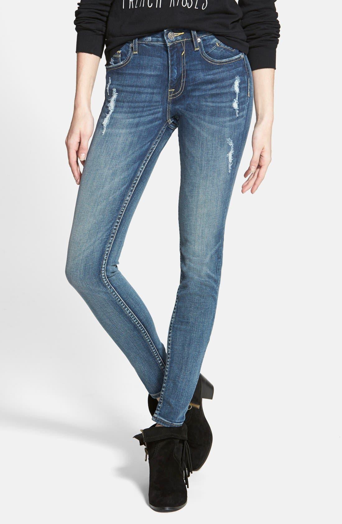 Main Image - Vigoss 'Dublin' Distressed Skinny Jeans (Medium Wash)