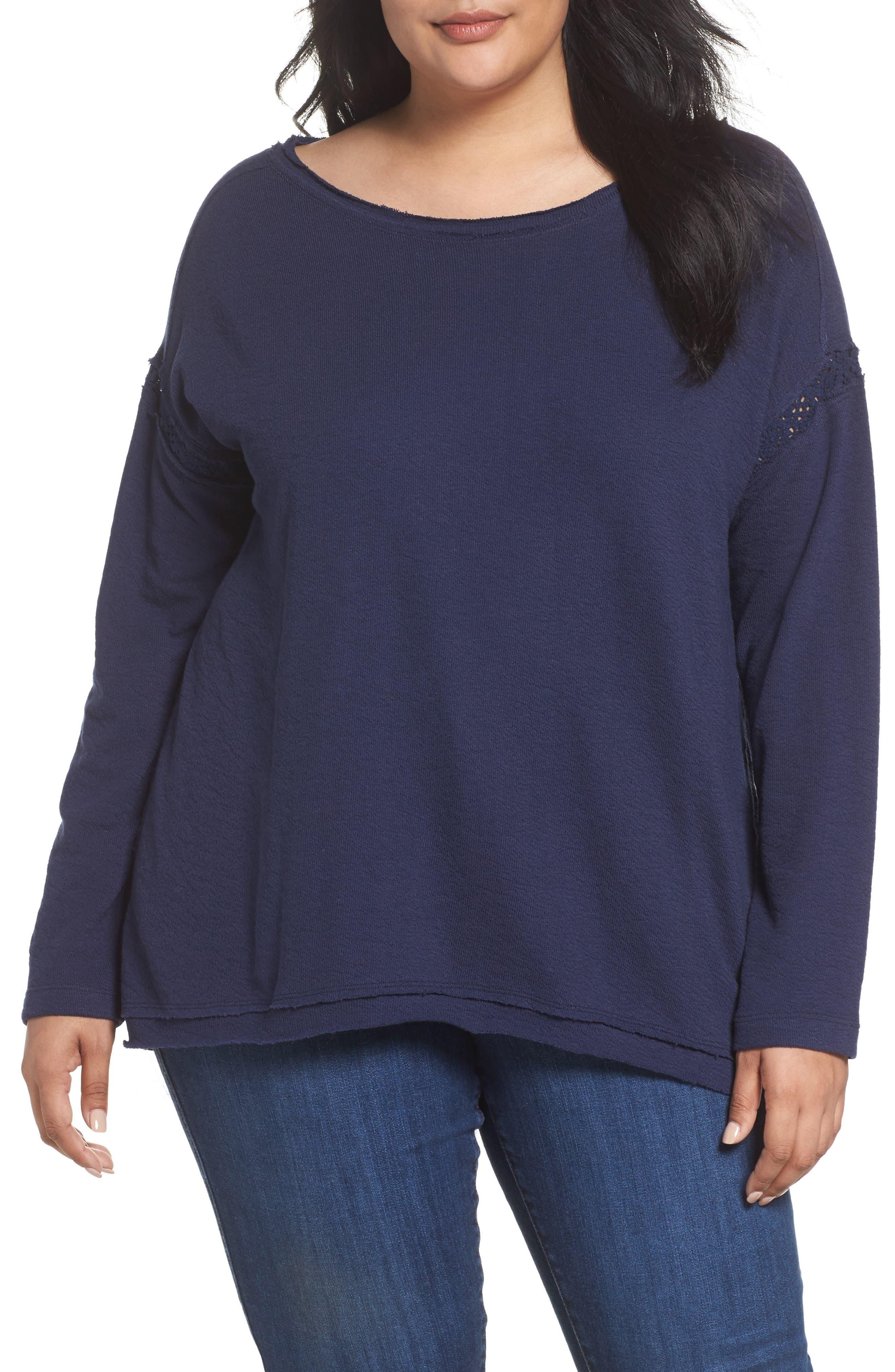 Caslon Lace Trim Sweatshirt,                         Main,                         color, Navy Peacoat