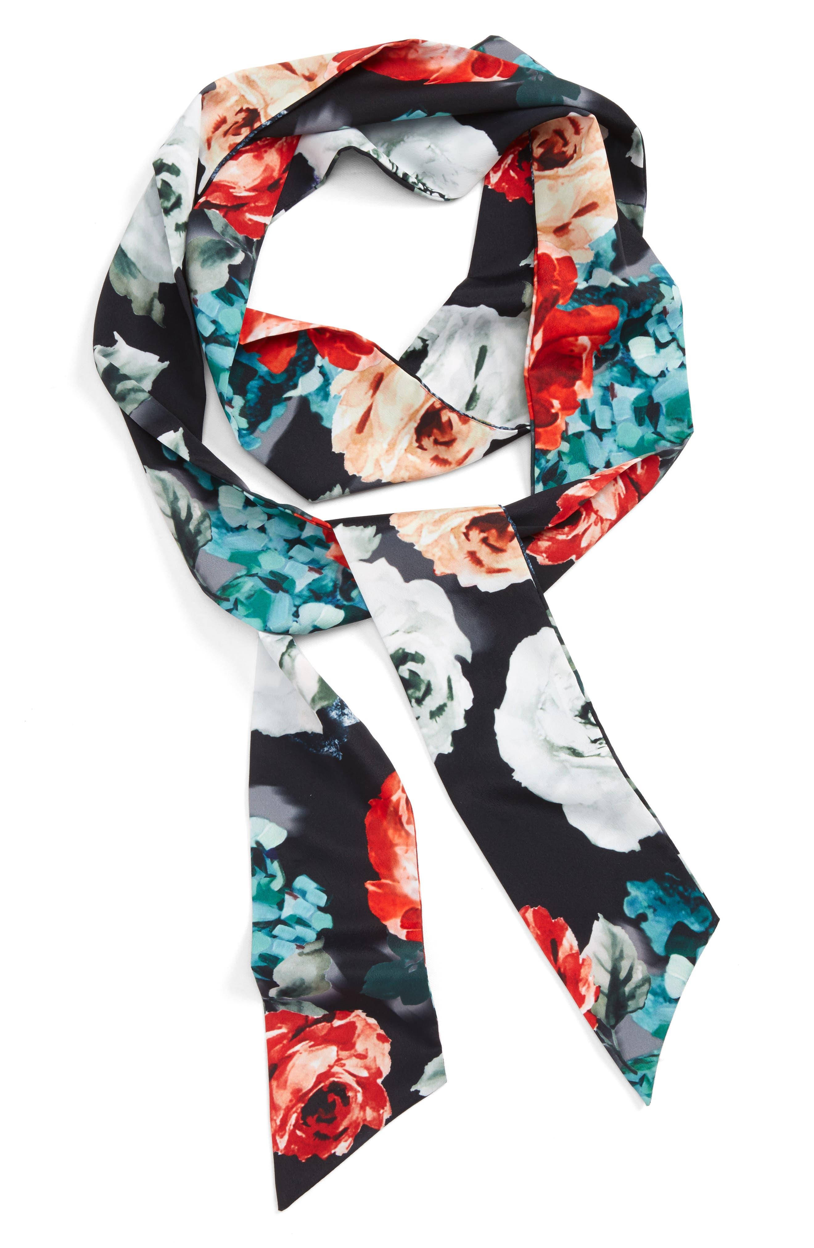 CARA Floral Print Skinny Scarf
