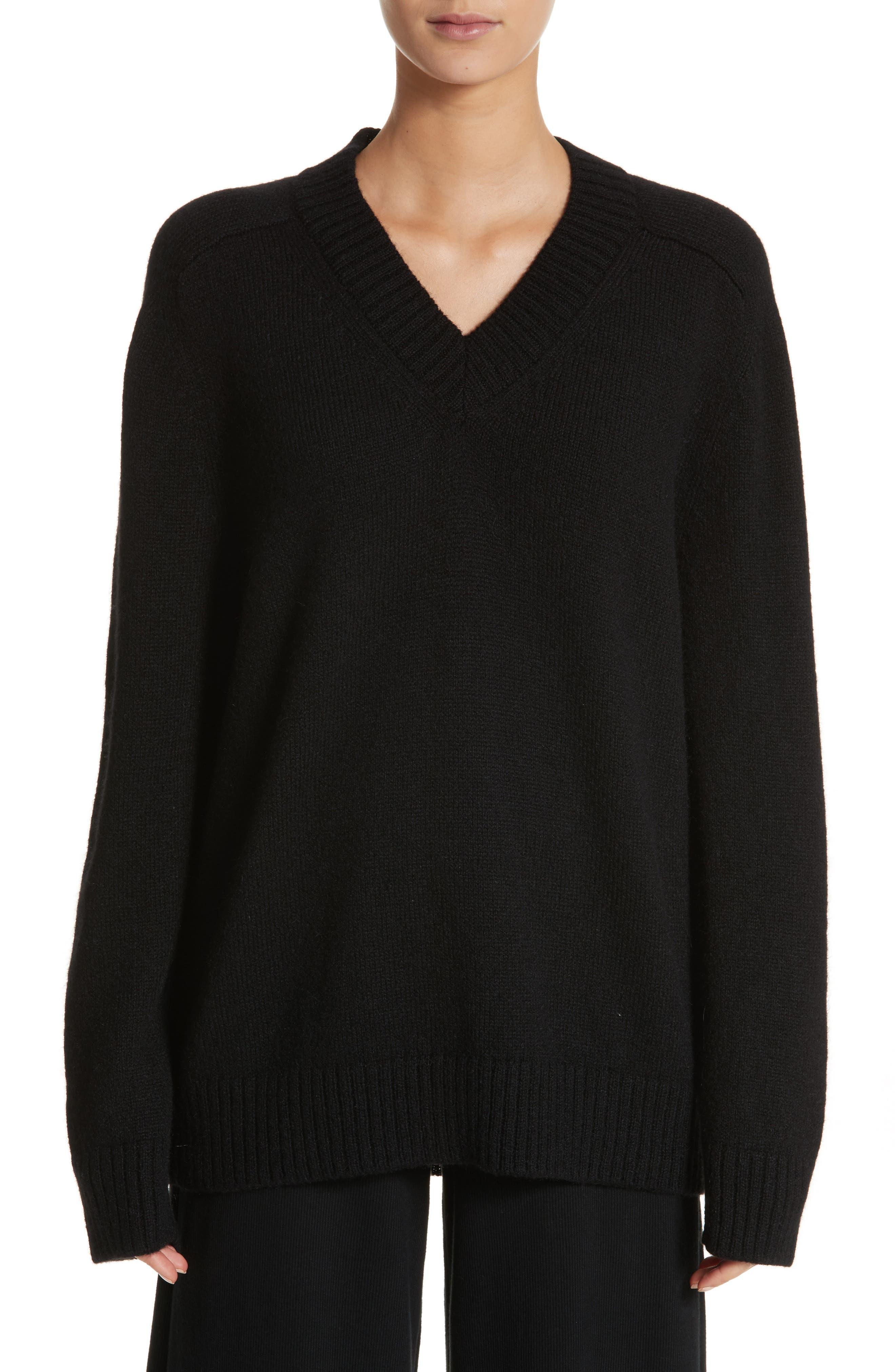 Alpaca Blend V-Neck Sweater,                             Main thumbnail 1, color,                             Black
