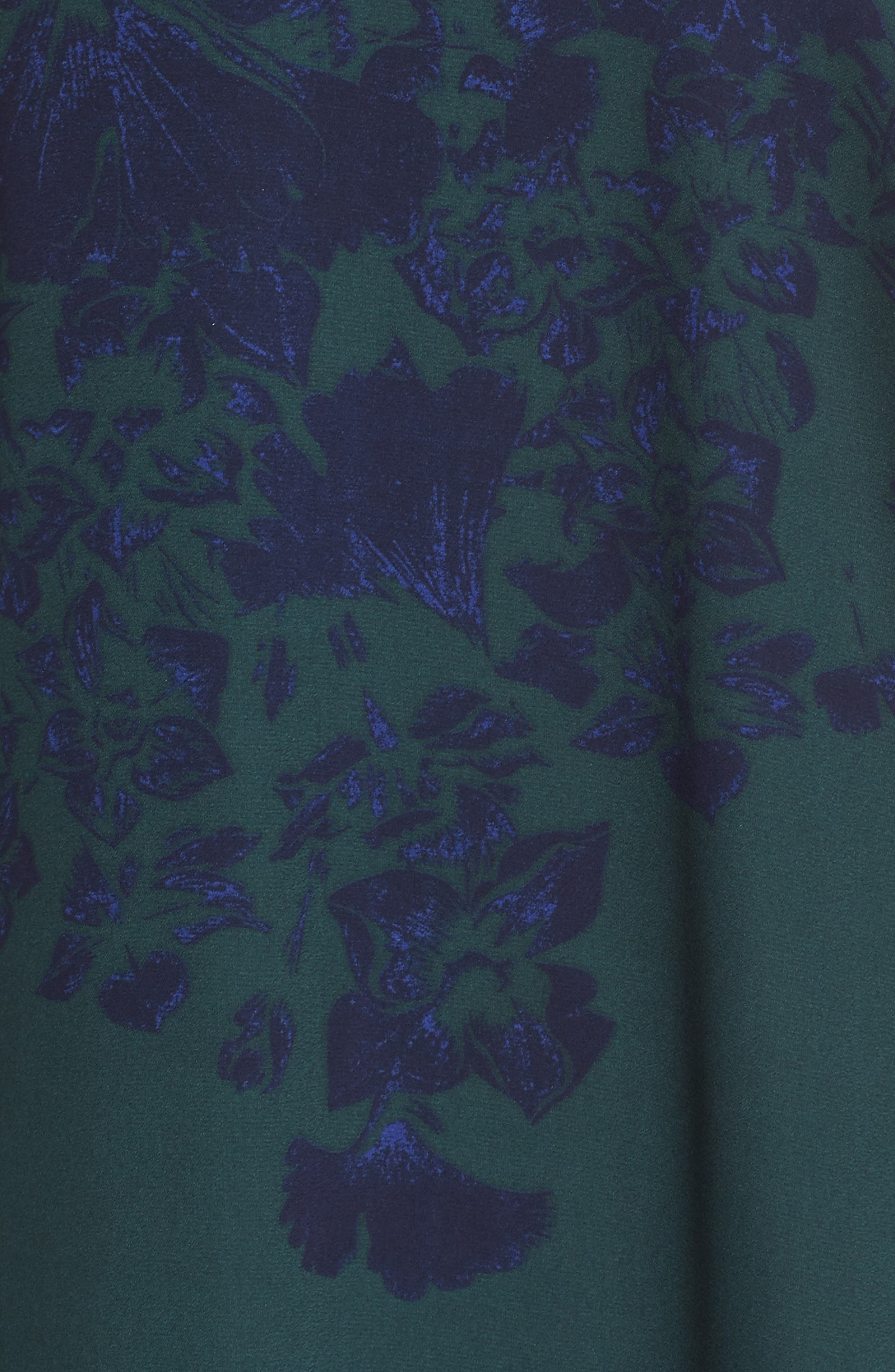 Crossover Shift Dress,                             Alternate thumbnail 5, color,                             Green Fall Floral