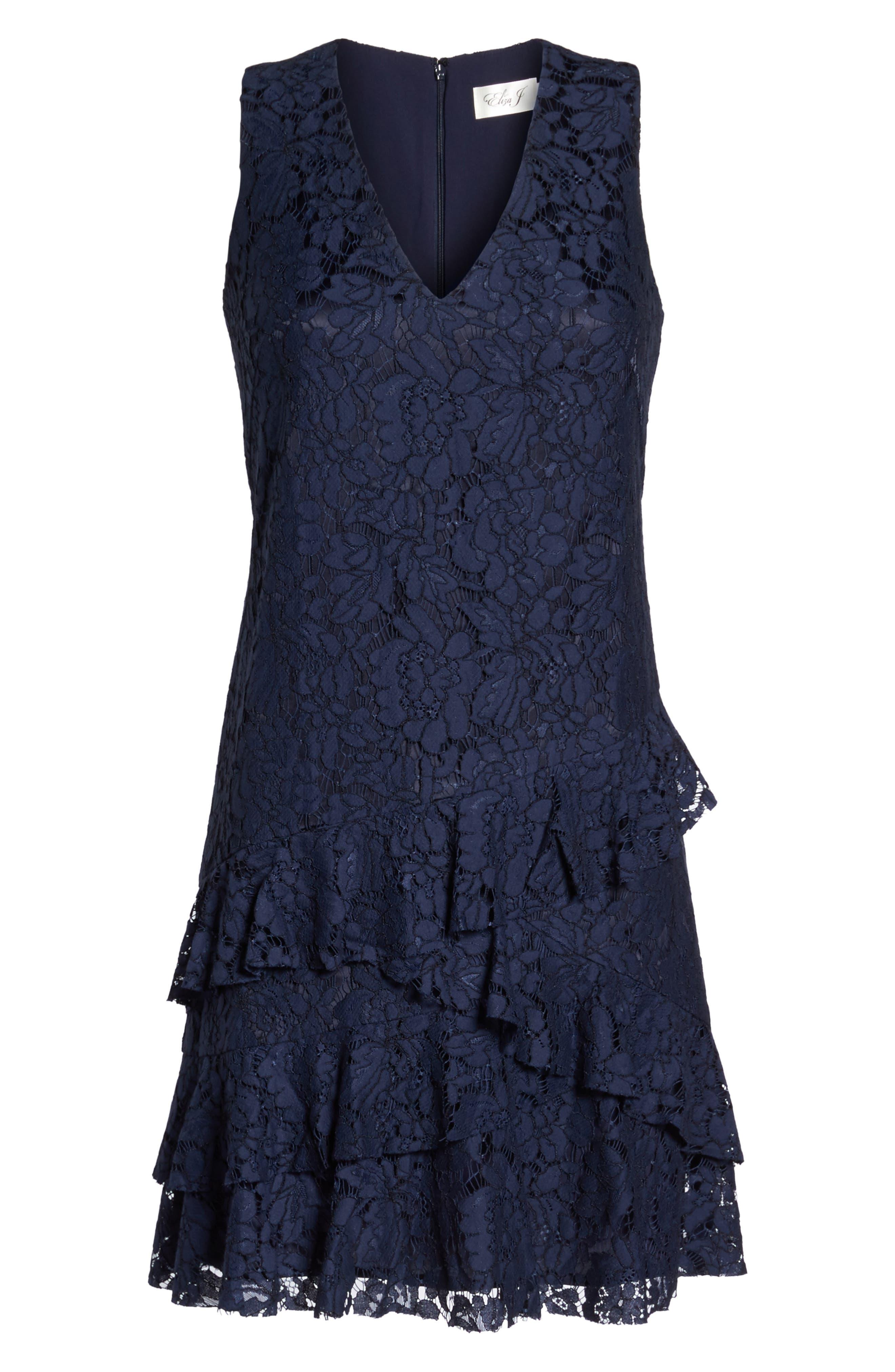 Ruffle Lace Shift Dress,                             Alternate thumbnail 6, color,                             Navy