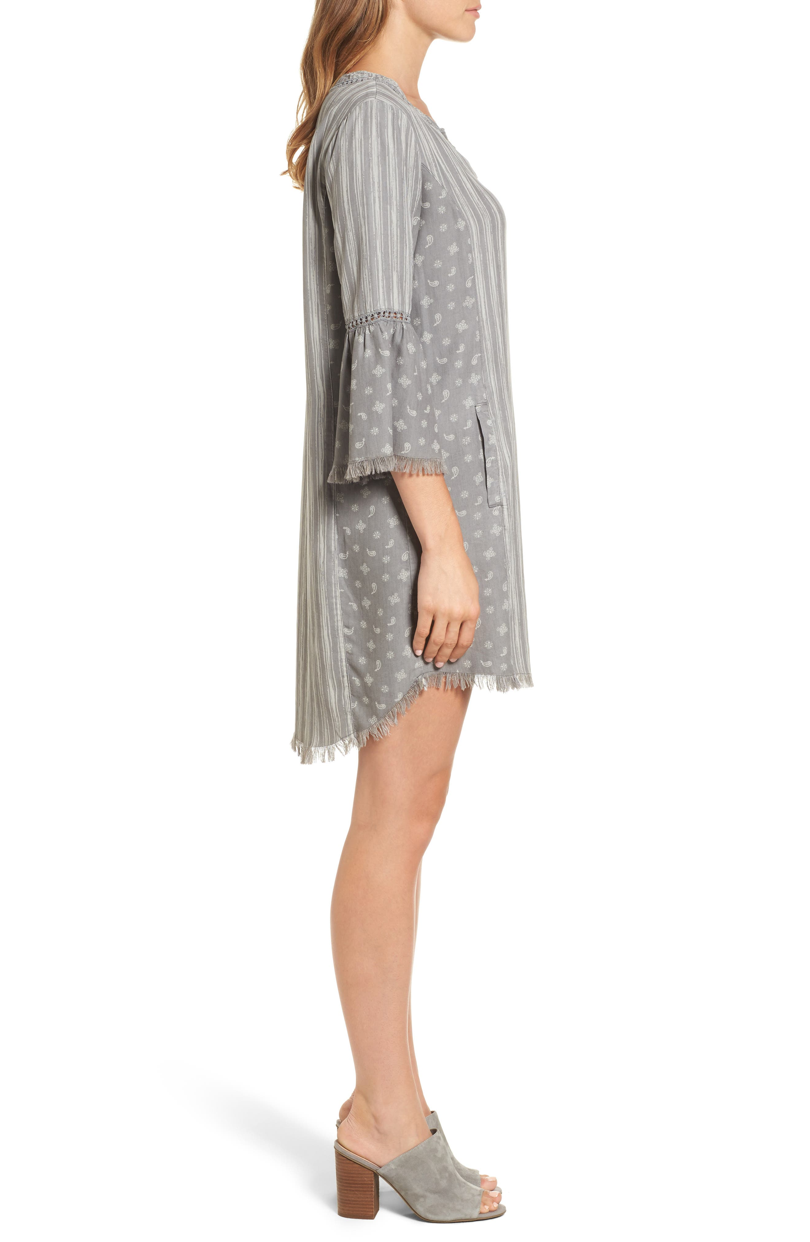 Bell Sleeve Shift Dress,                             Alternate thumbnail 3, color,                             Grey Mix