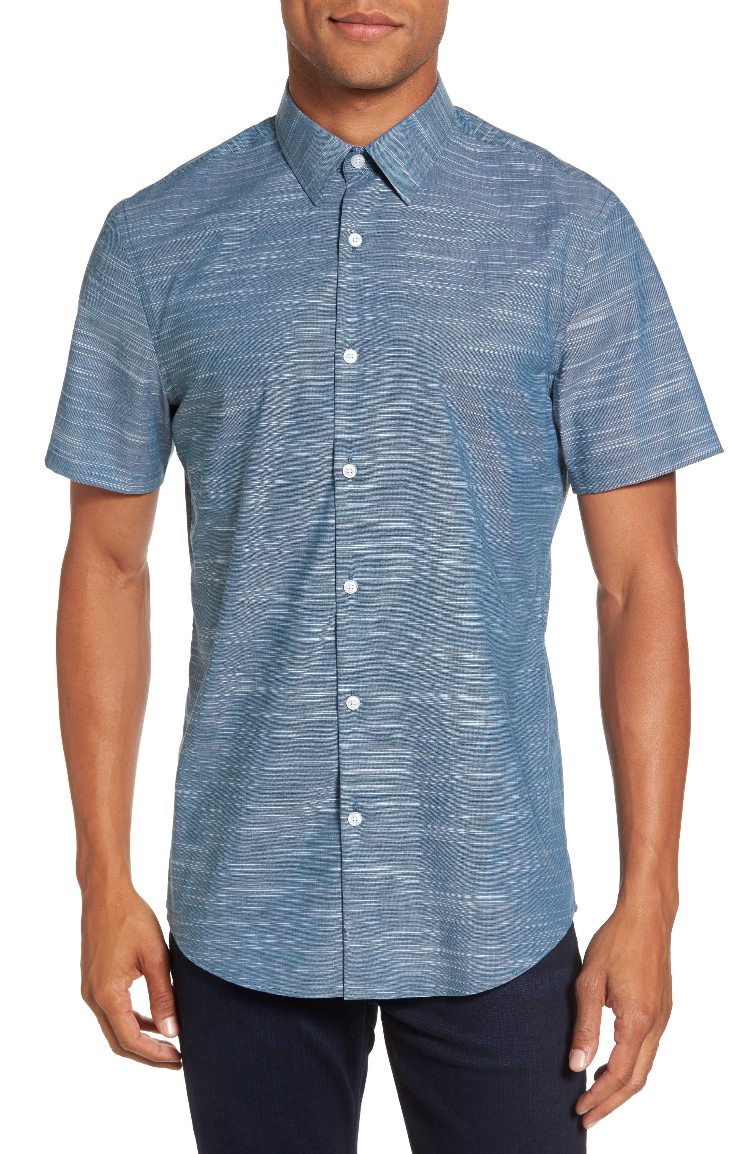Calilbrate Slim Fit Slub Woven Shirt,                         Main,                         color, Teal Seagate Slub