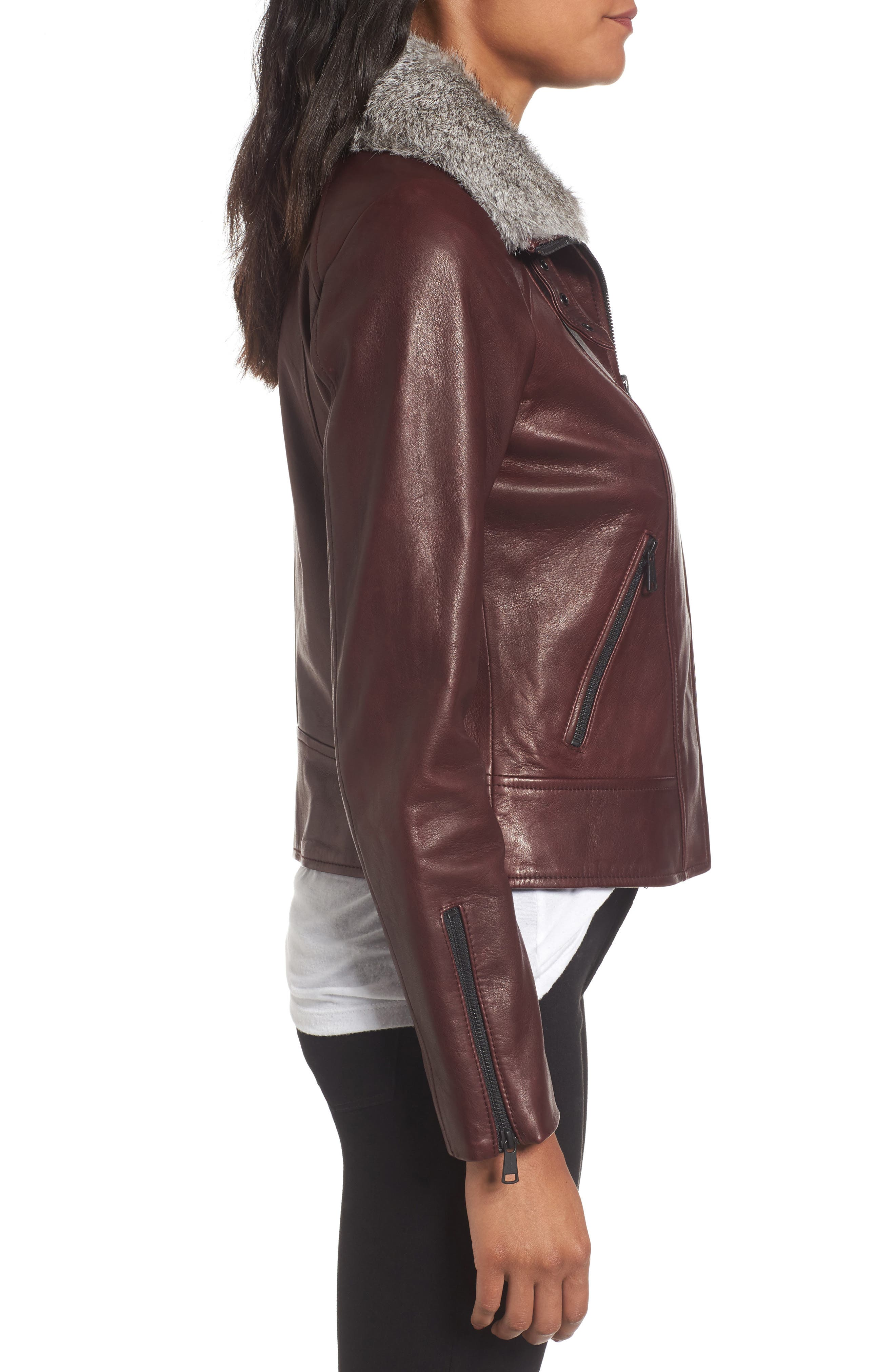 Cambridge Genuine Rabbit Fur & Leather Jacket,                             Alternate thumbnail 3, color,                             Burgundy