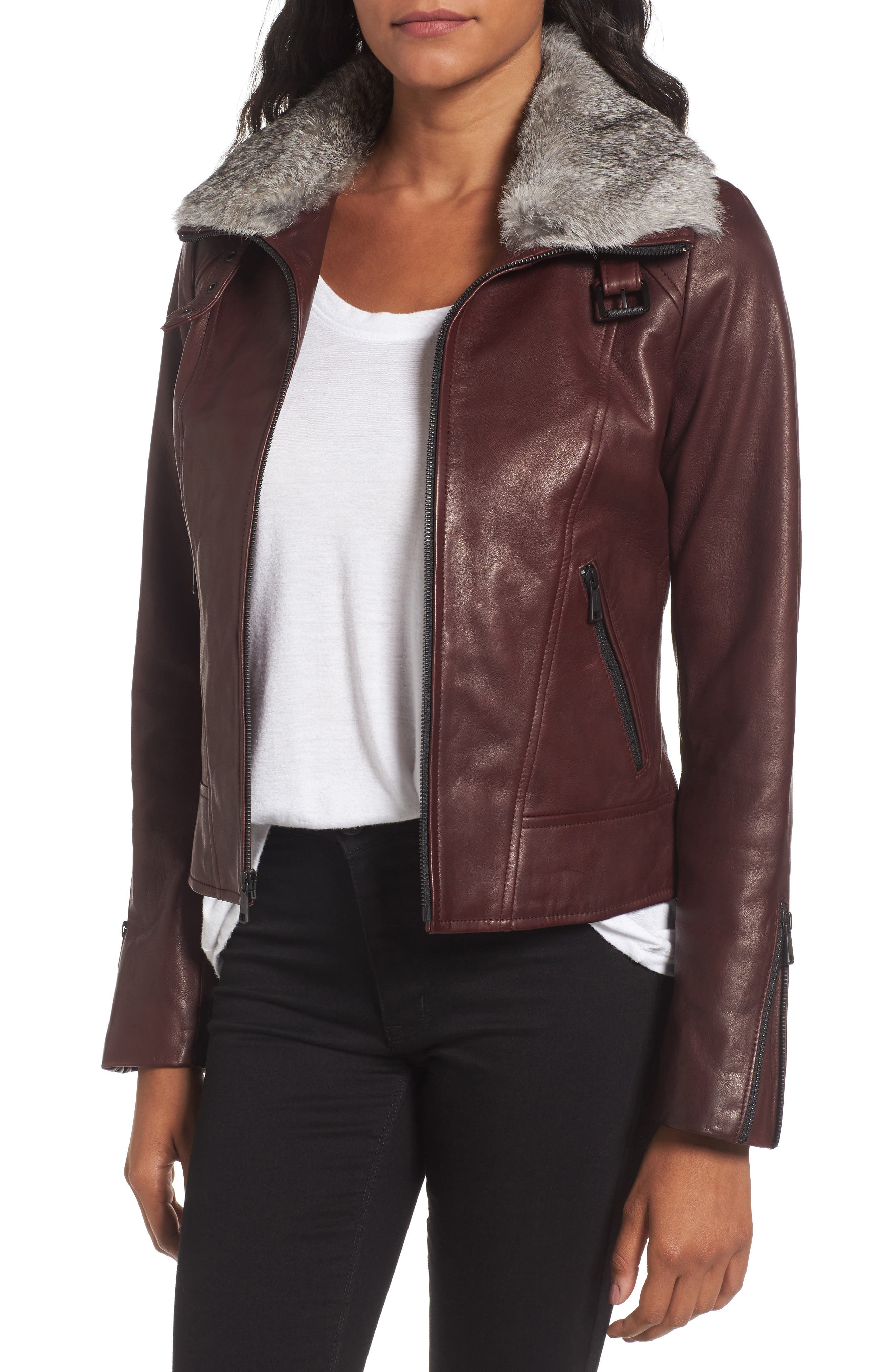 Cambridge Genuine Rabbit Fur & Leather Jacket,                         Main,                         color, Burgundy