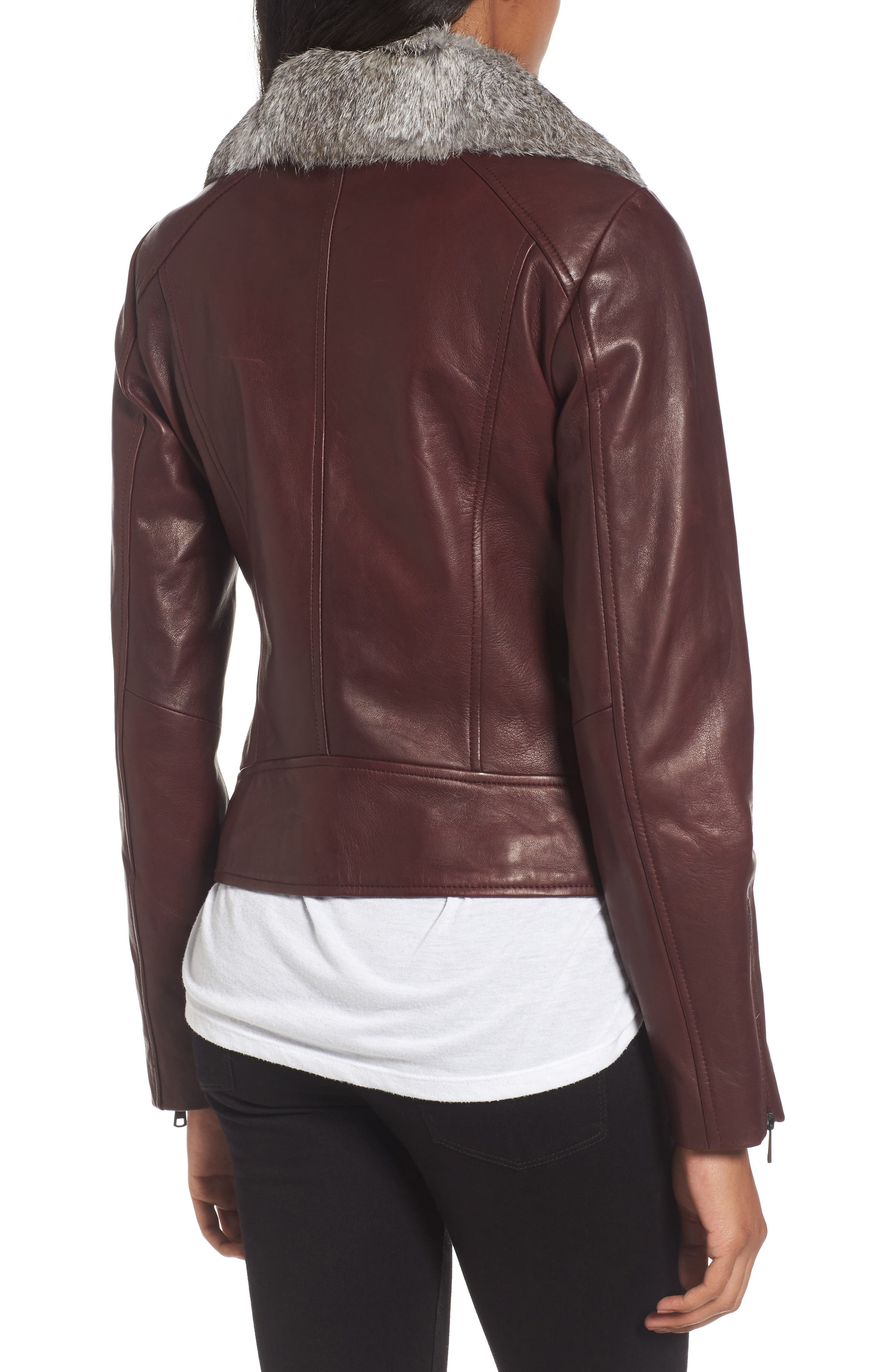 Cambridge Genuine Rabbit Fur & Leather Jacket,                             Alternate thumbnail 2, color,                             Burgundy