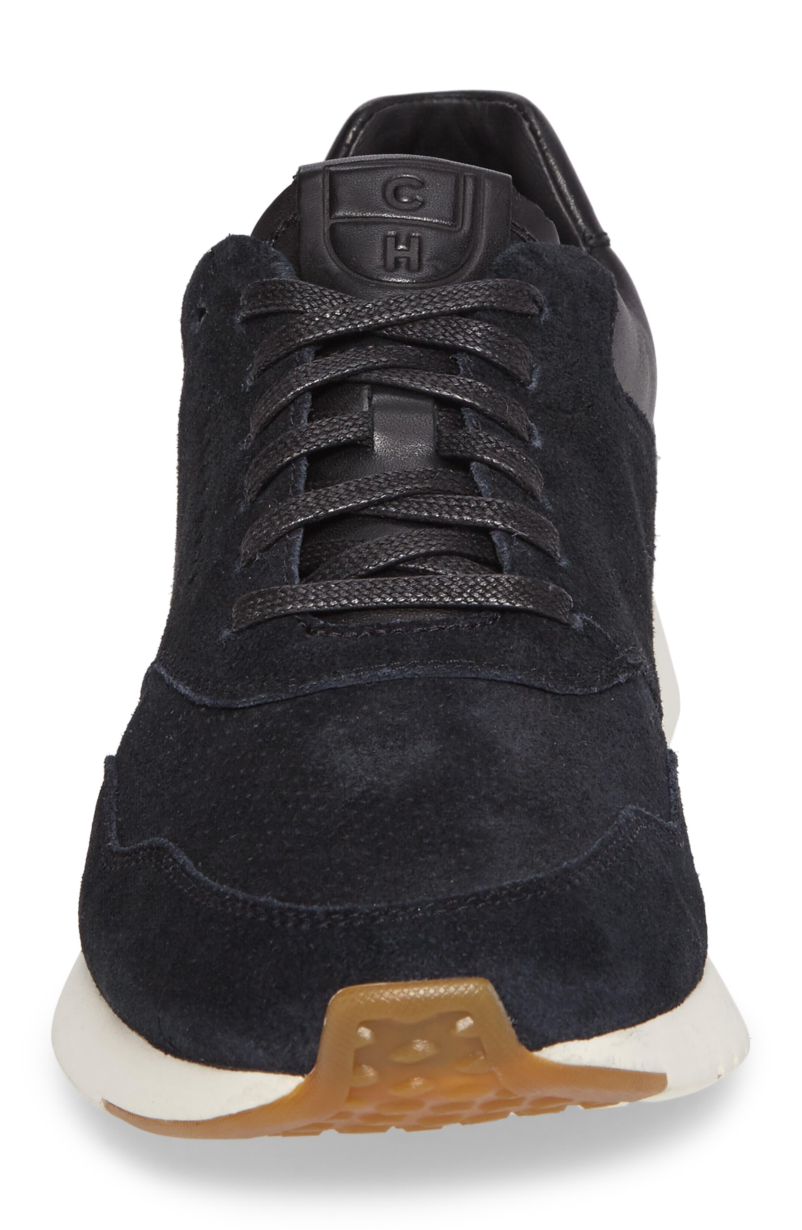 GrandPro Runner Sneaker,                             Alternate thumbnail 4, color,                             Black Leather