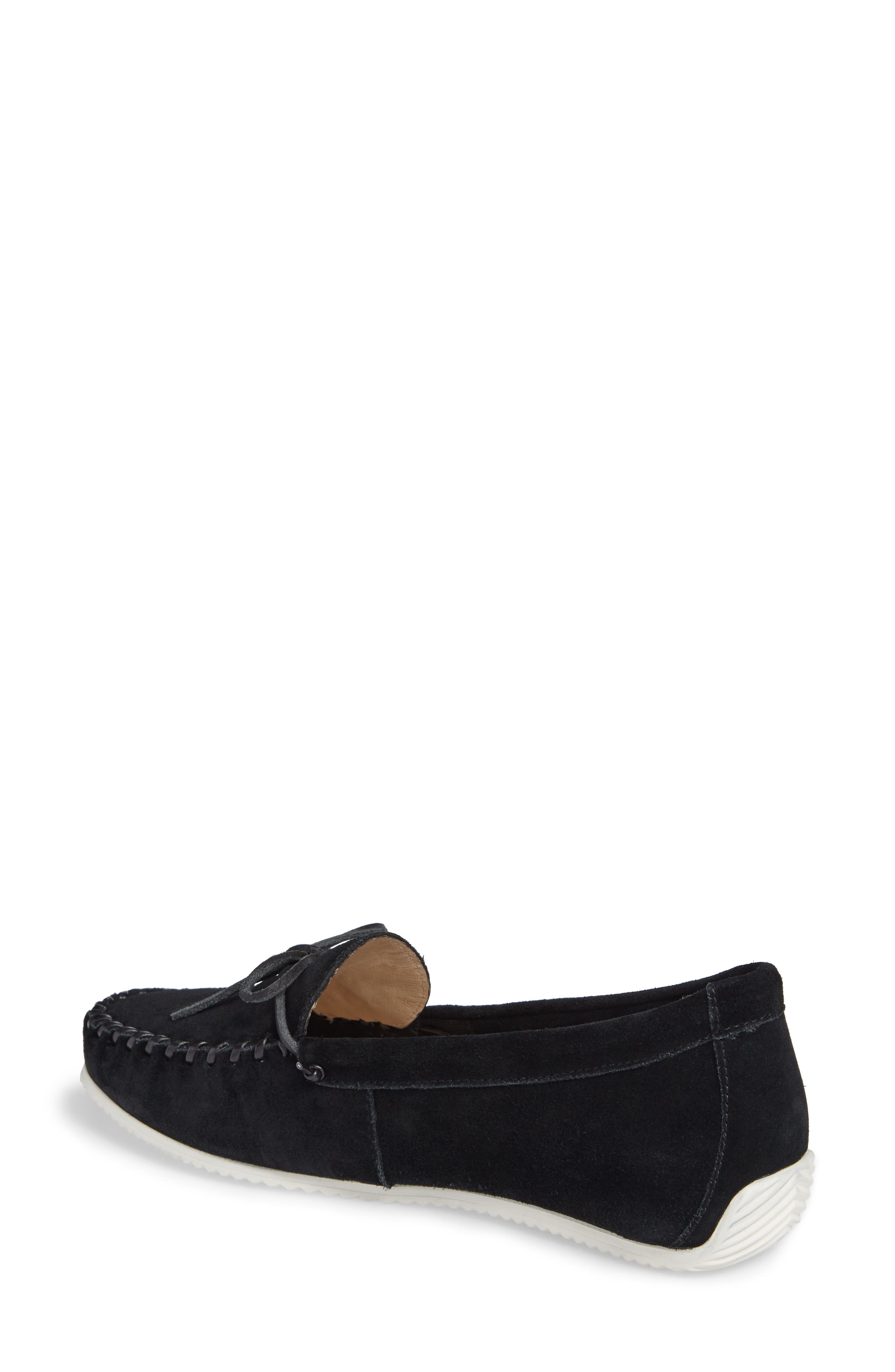 Larghetto Carine Concealed Wedge Moccasin,                             Alternate thumbnail 2, color,                             Black Suede