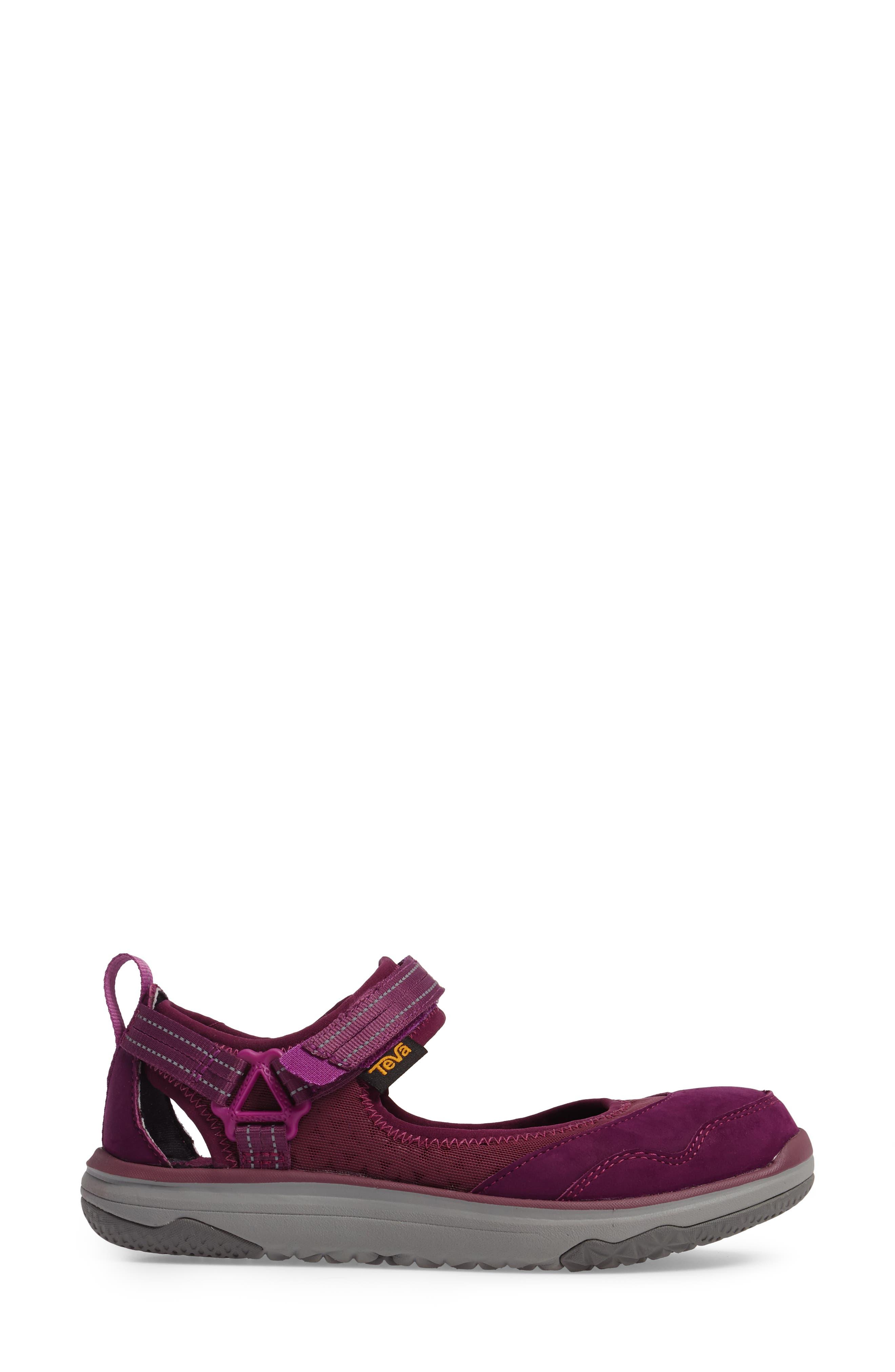 Terra Float Travel Mary Jane Flat,                             Alternate thumbnail 3, color,                             Dark Purple Leather