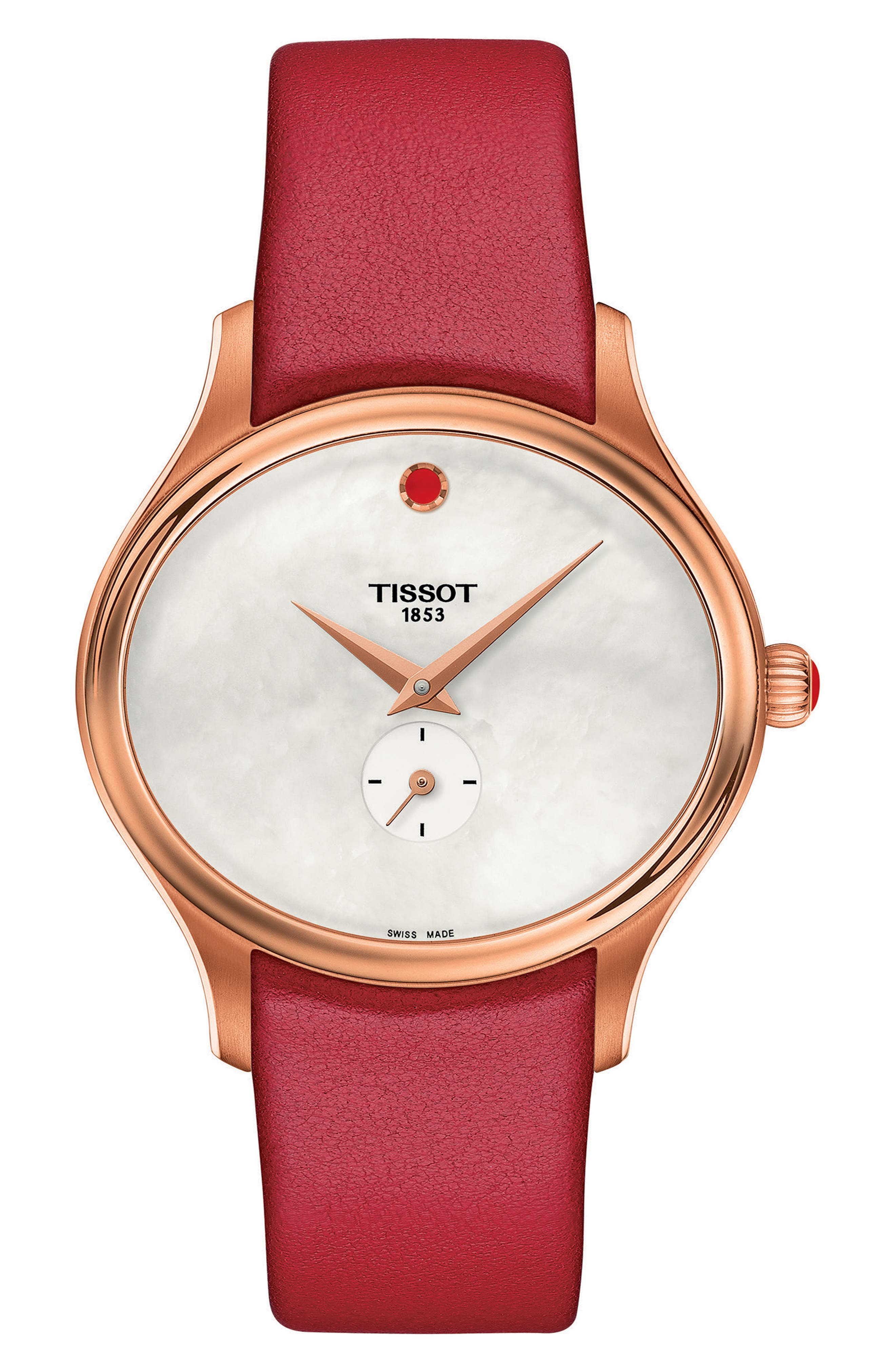 Alternate Image 1 Selected - Tissot Bella Ora Leather Strap Watch, 28mm x 31mm