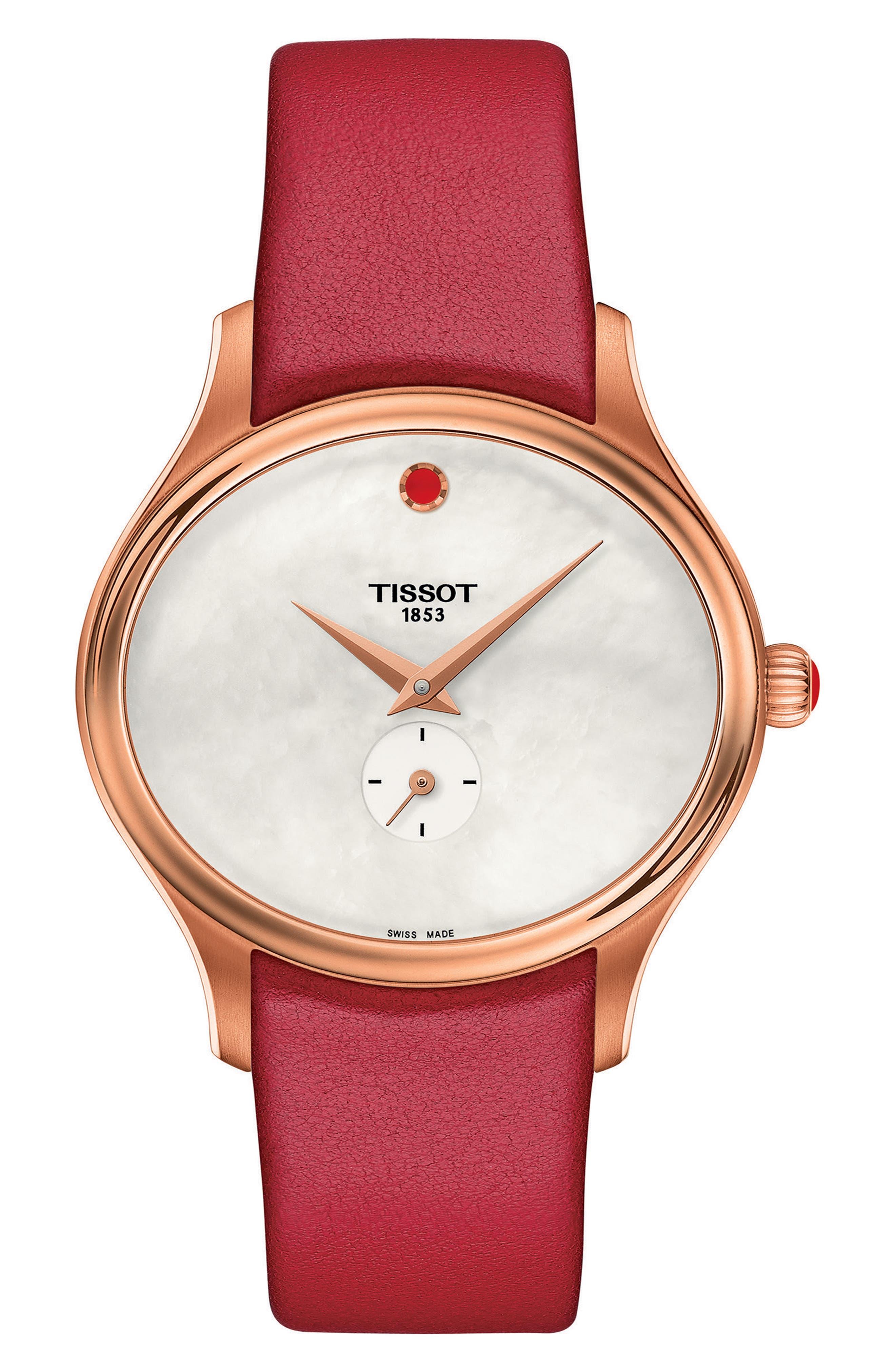 Main Image - Tissot Bella Ora Leather Strap Watch, 28mm x 31mm