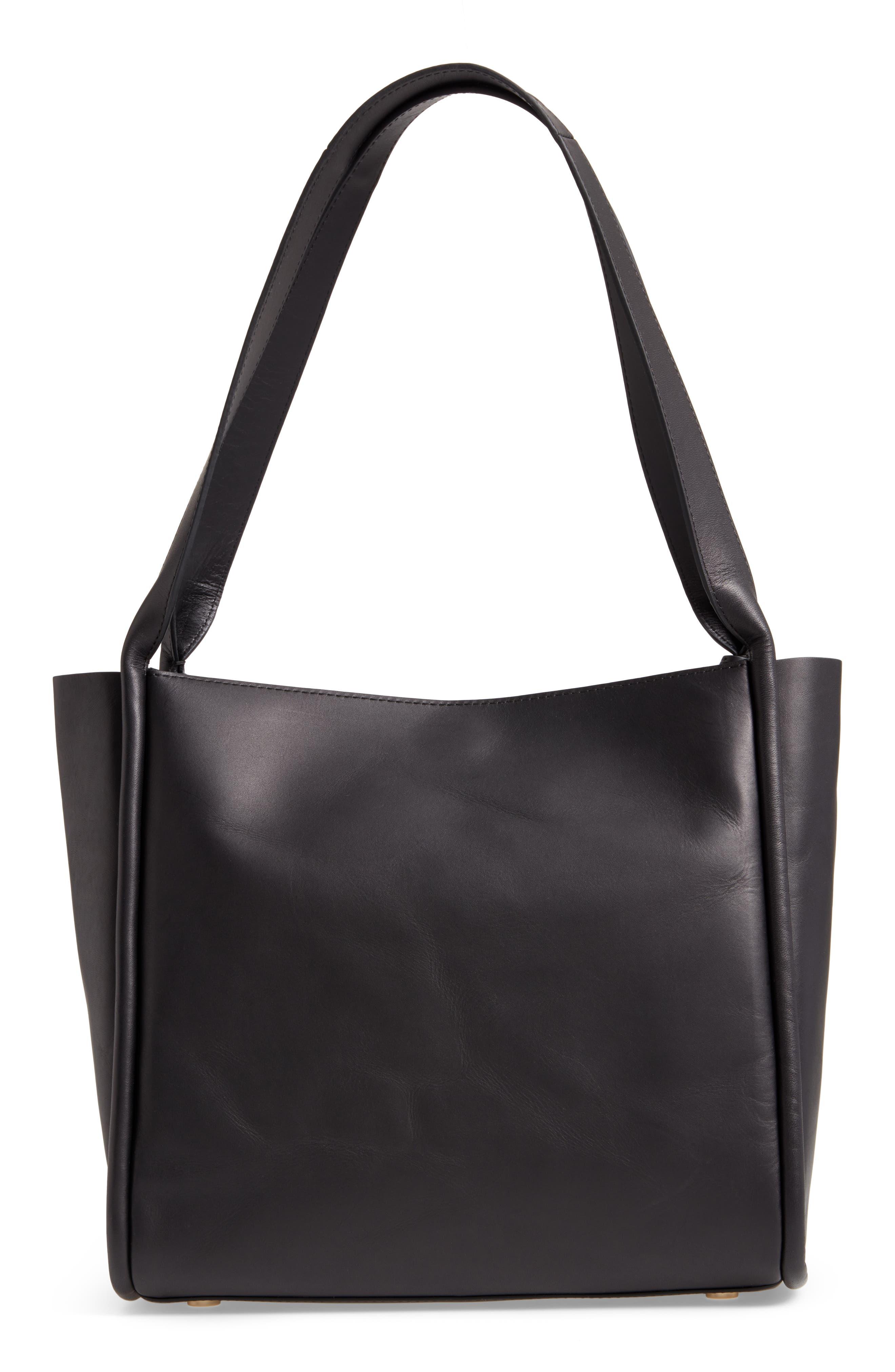 Karalie Leather Shoulder Bag,                             Alternate thumbnail 2, color,                             Black