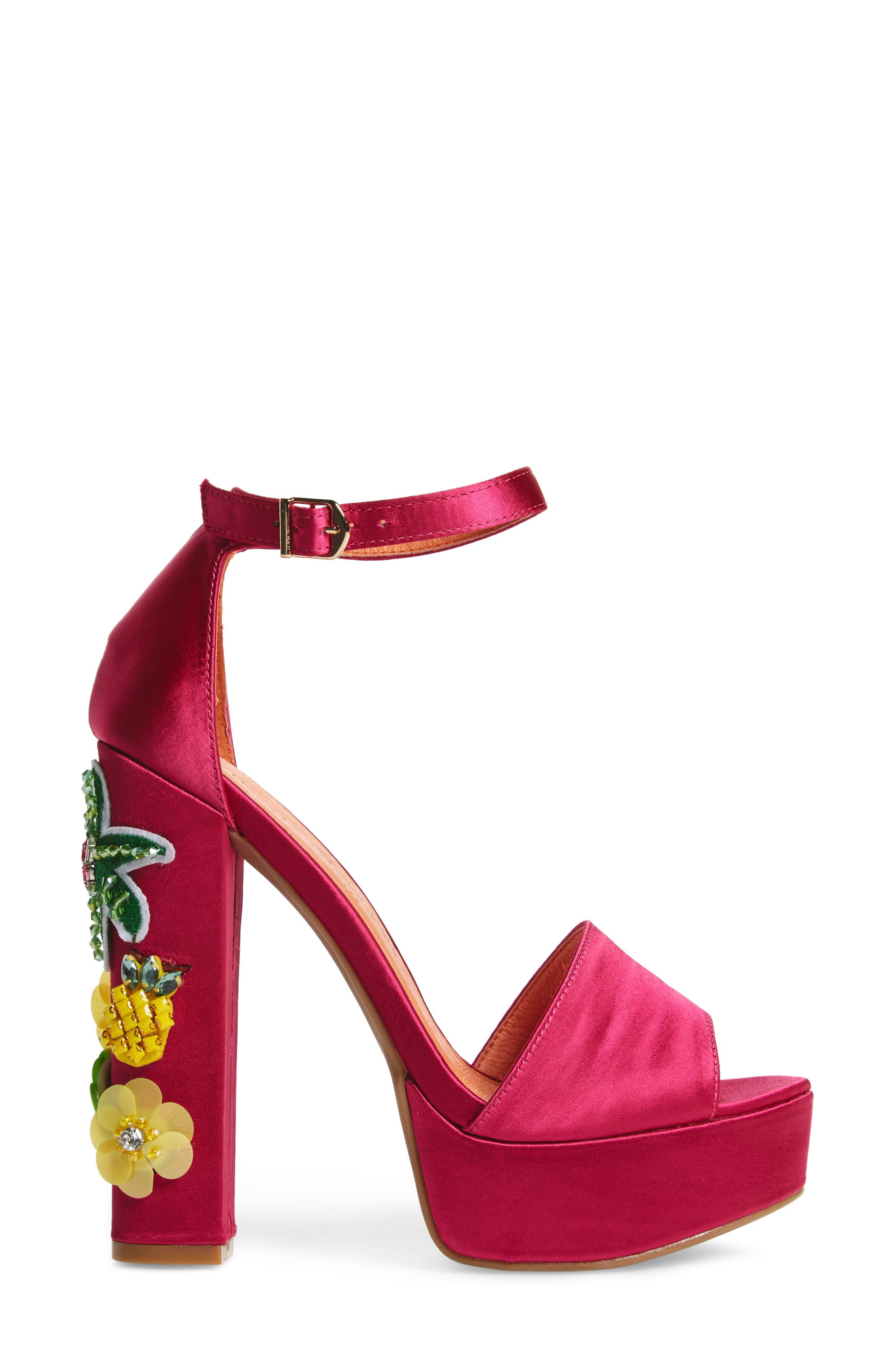 Aloha Embellished Platform Sandal,                             Alternate thumbnail 3, color,                             Hot Pink