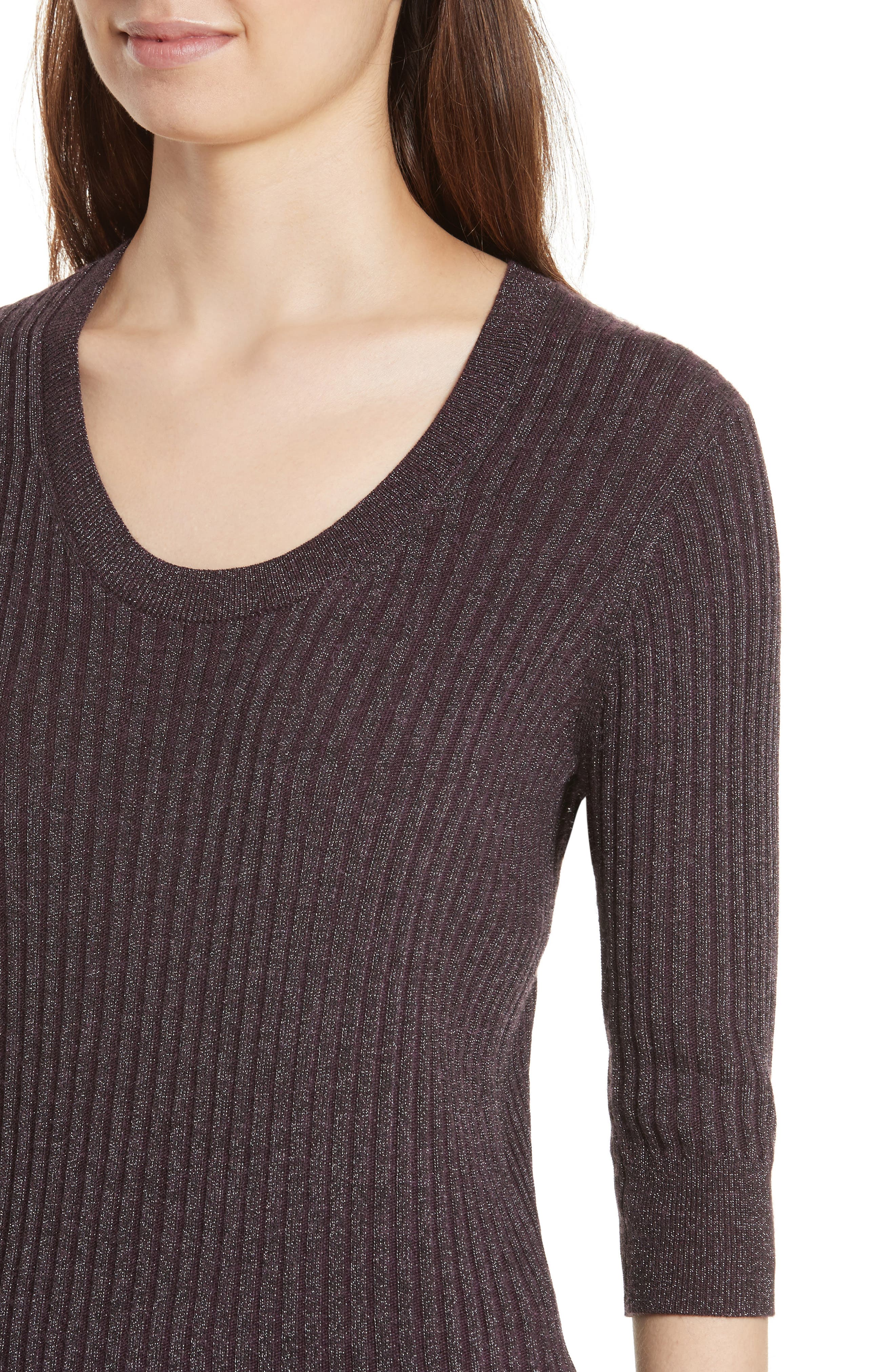 Alternate Image 4  - Rebecca Taylor Metallic Rib Sweater