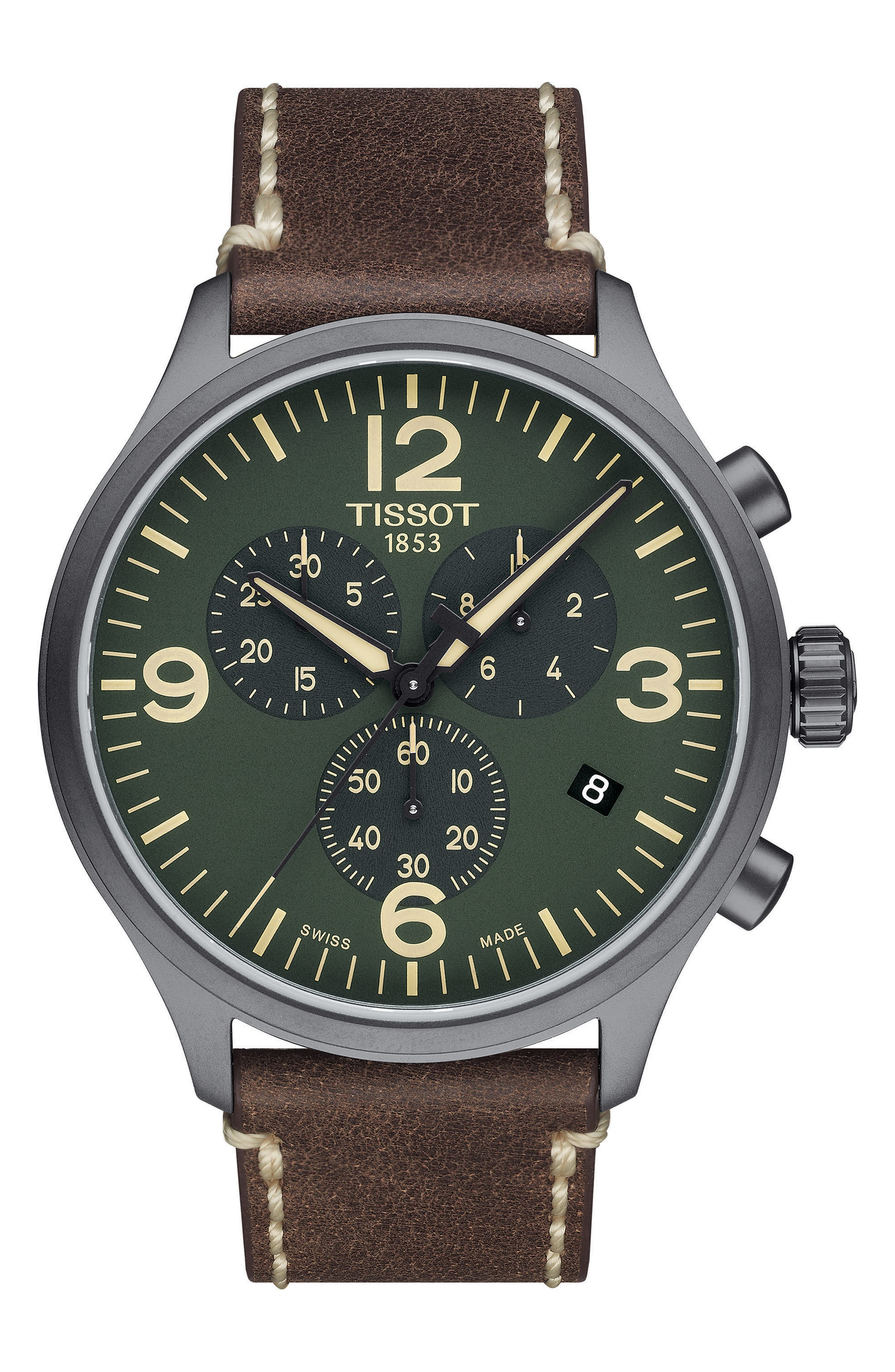 Chrono XL Leather Strap Chronograph Watch, 45mm,                             Main thumbnail 1, color,                             Brown/ Green/ Black