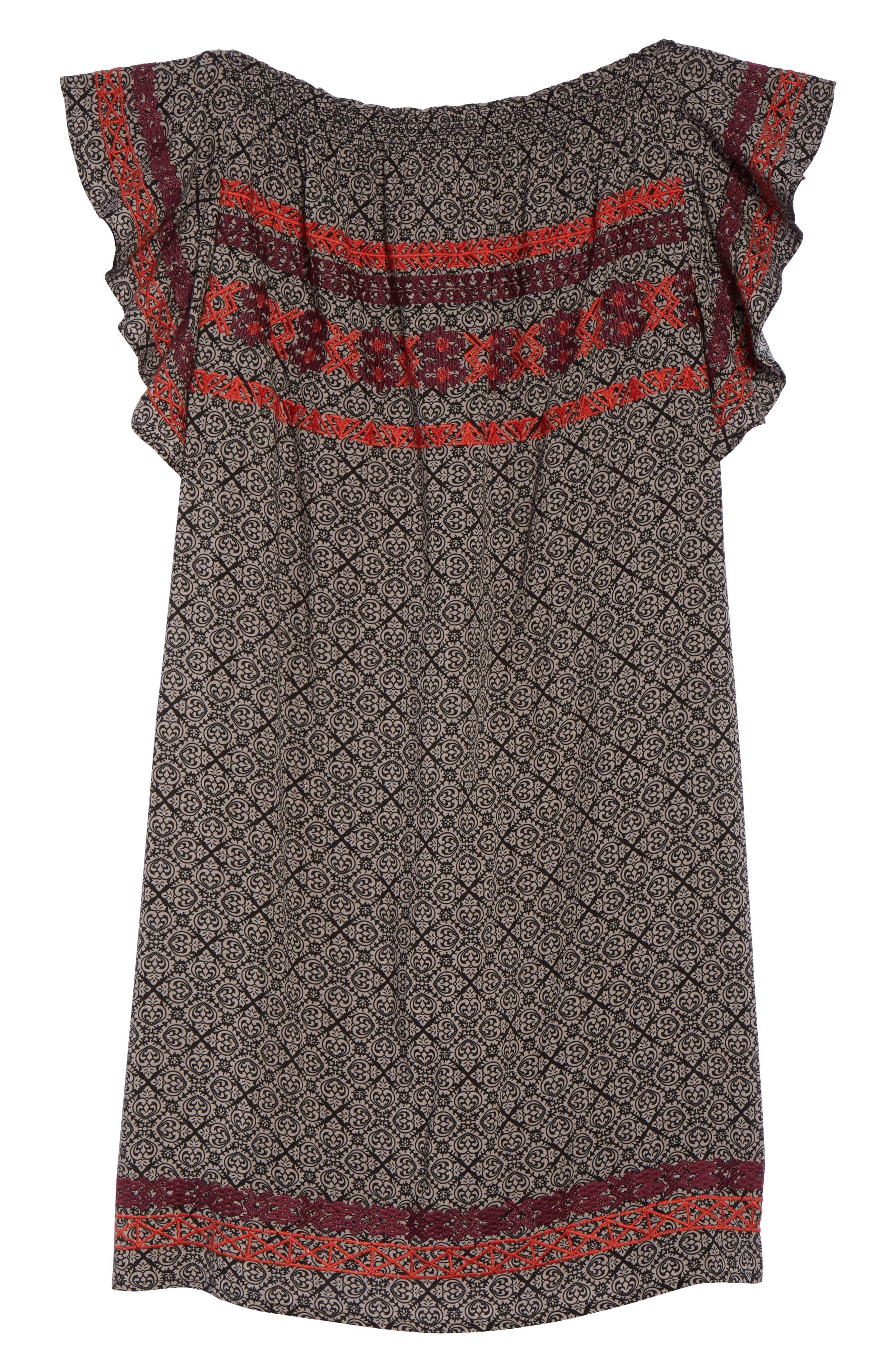 Flutter Sleeve Shift Dress,                             Alternate thumbnail 6, color,                             Black
