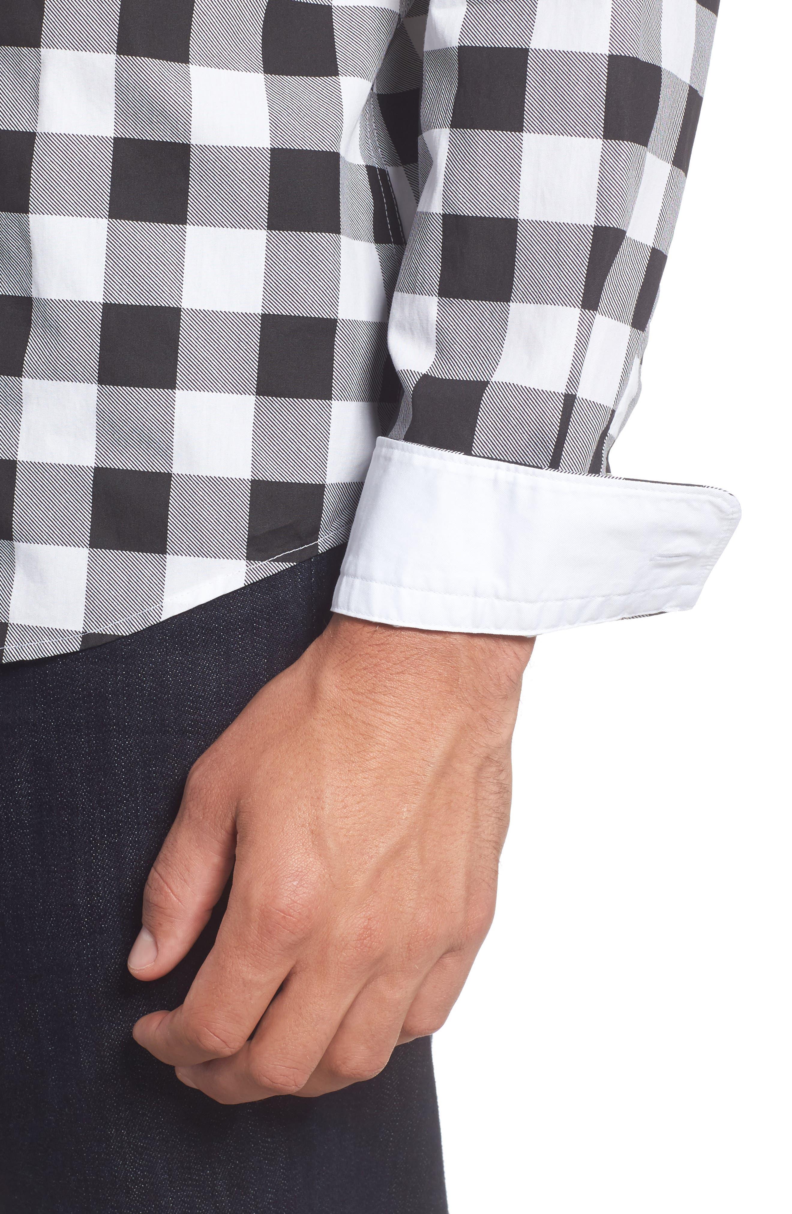 Lance Regular Fit Buffalo Plaid Sport Shirt,                             Alternate thumbnail 4, color,                             Black/ White