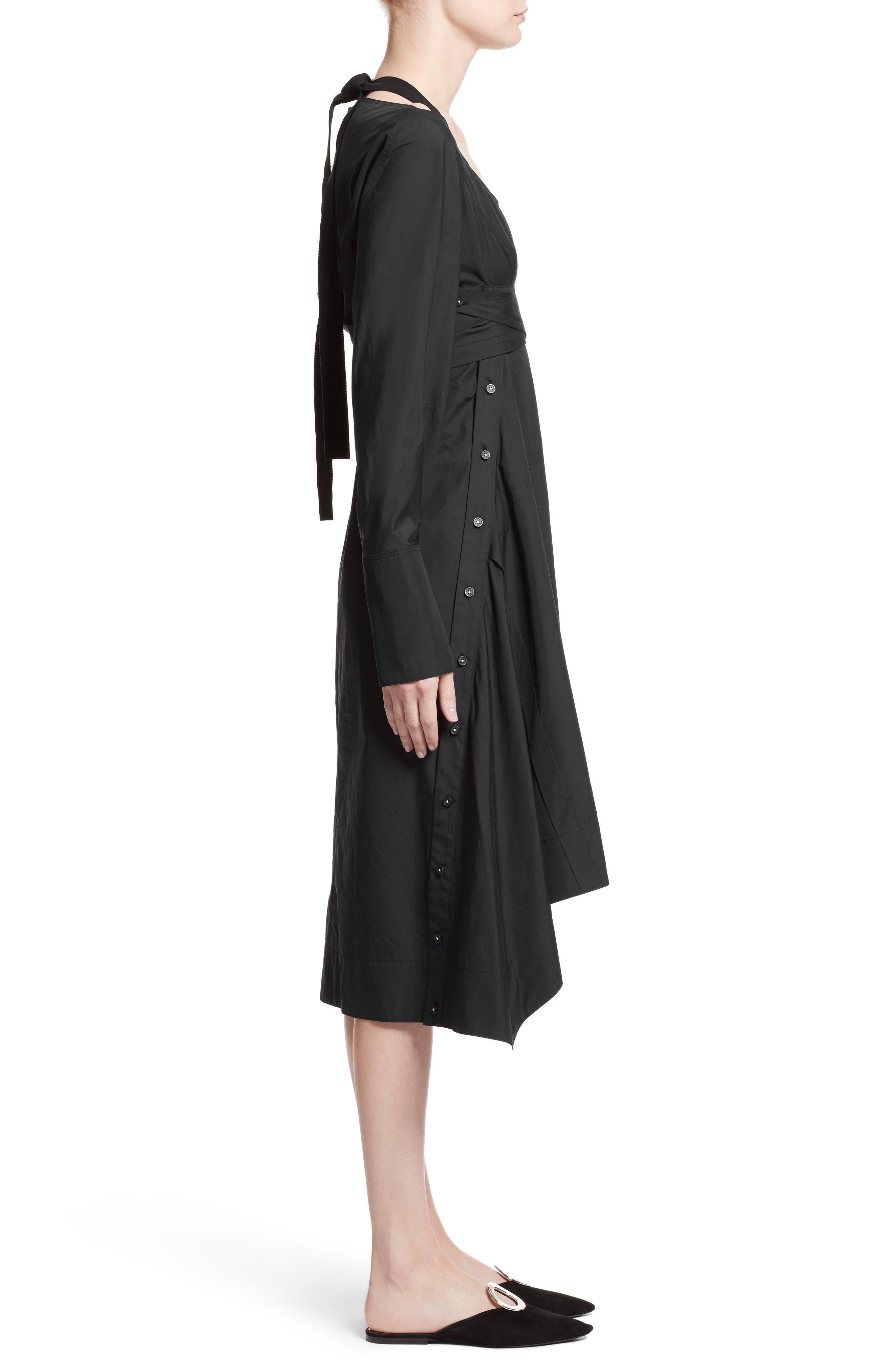 Cotton Poplin Wrap Dress,                             Alternate thumbnail 3, color,                             Black