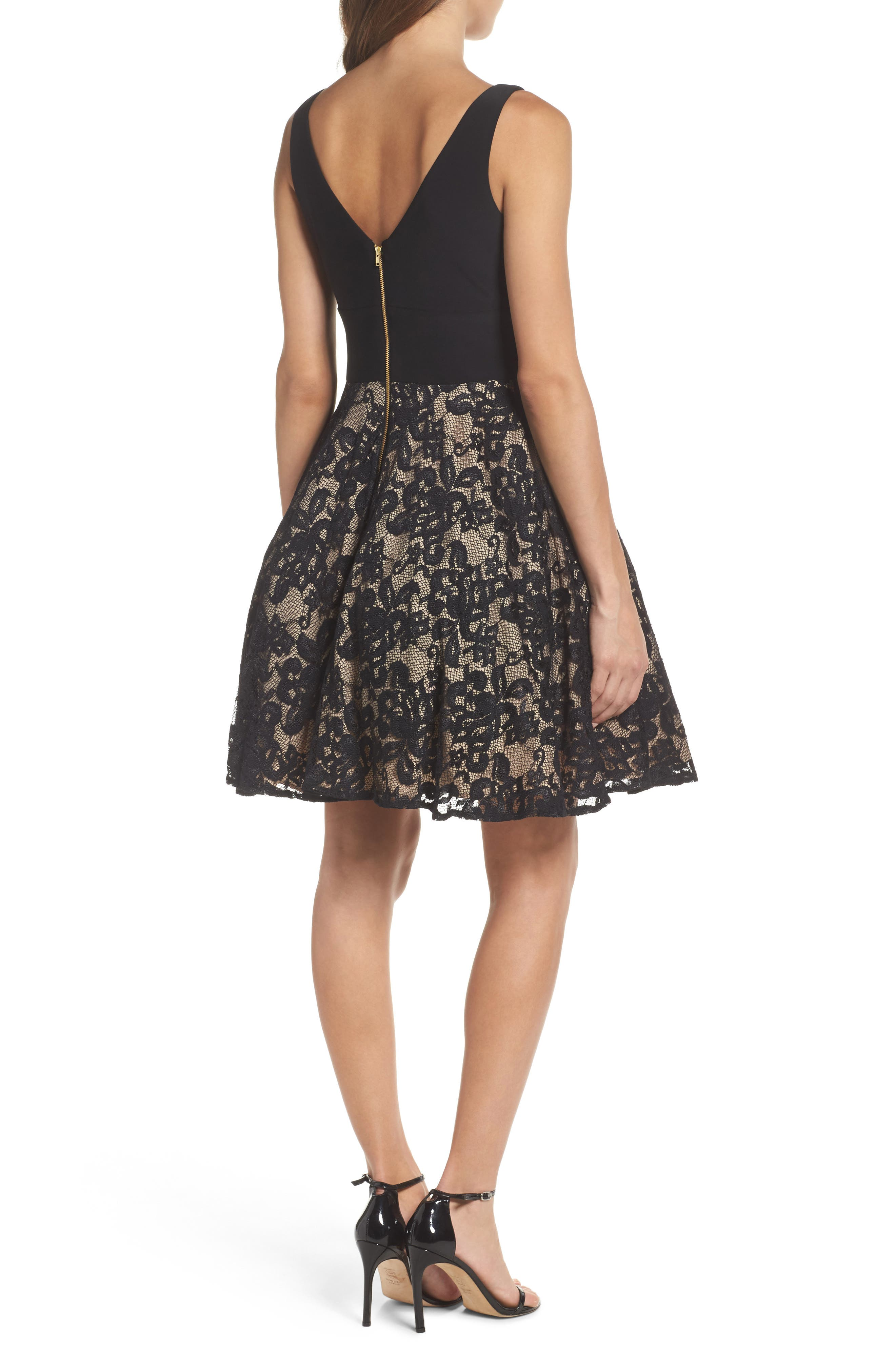 Jersey & Lace Party Dress,                             Alternate thumbnail 2, color,                             Black/ Nude