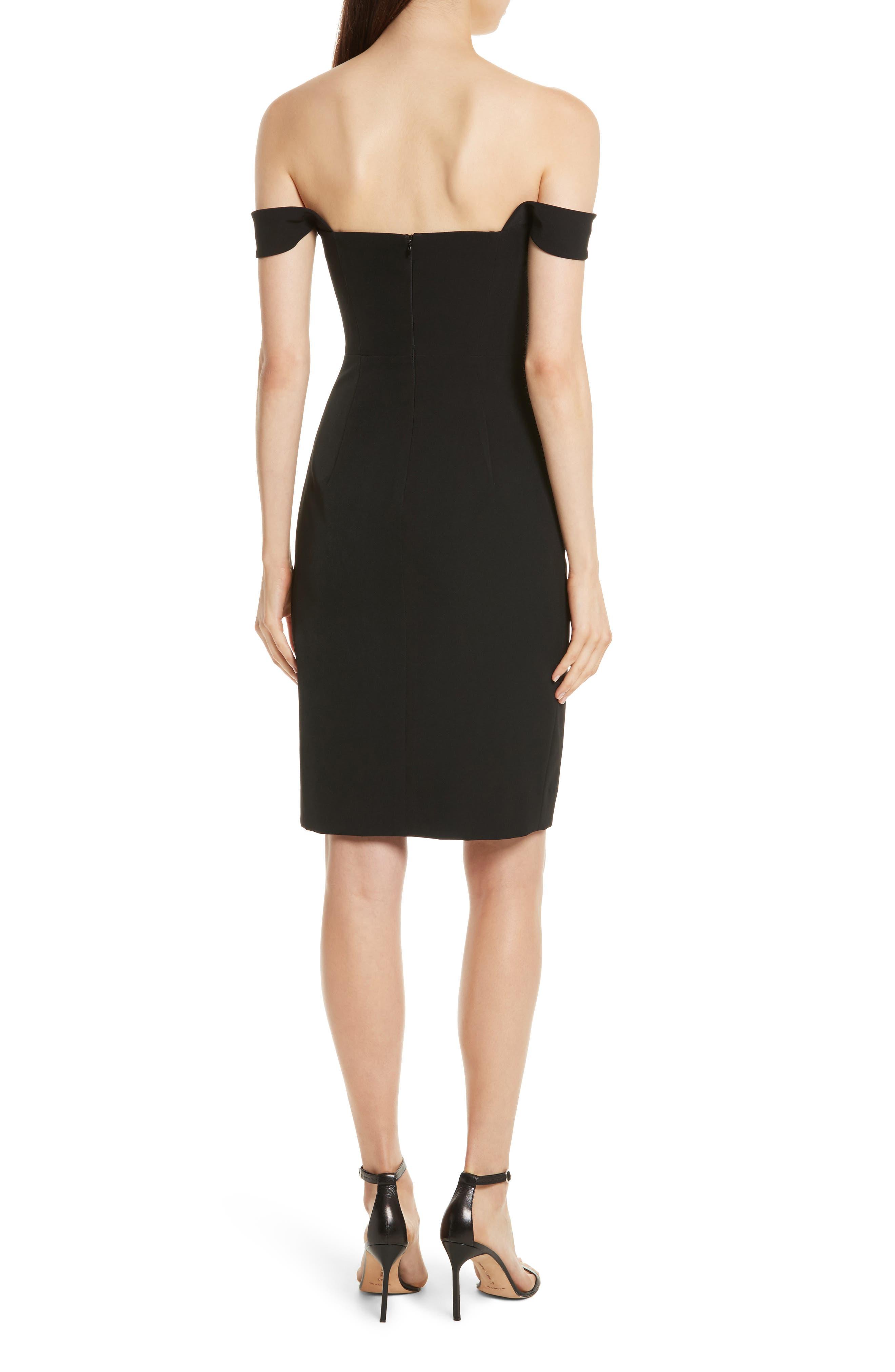 Karen Italian Cady Off the Shoulder Dress,                             Alternate thumbnail 2, color,                             Black