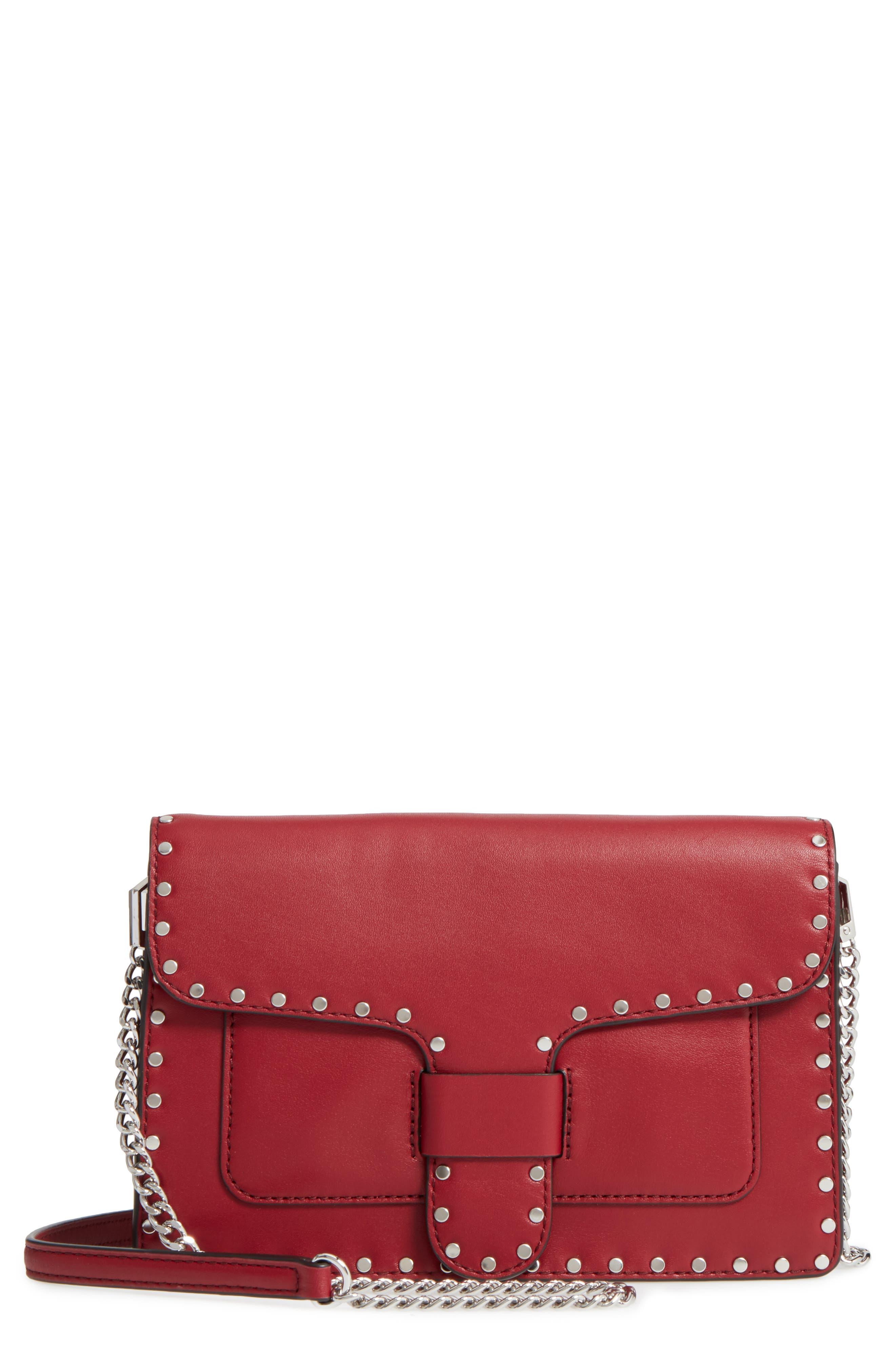 Medium Midnighter Leather Crossbody Bag,                         Main,                         color, Acai