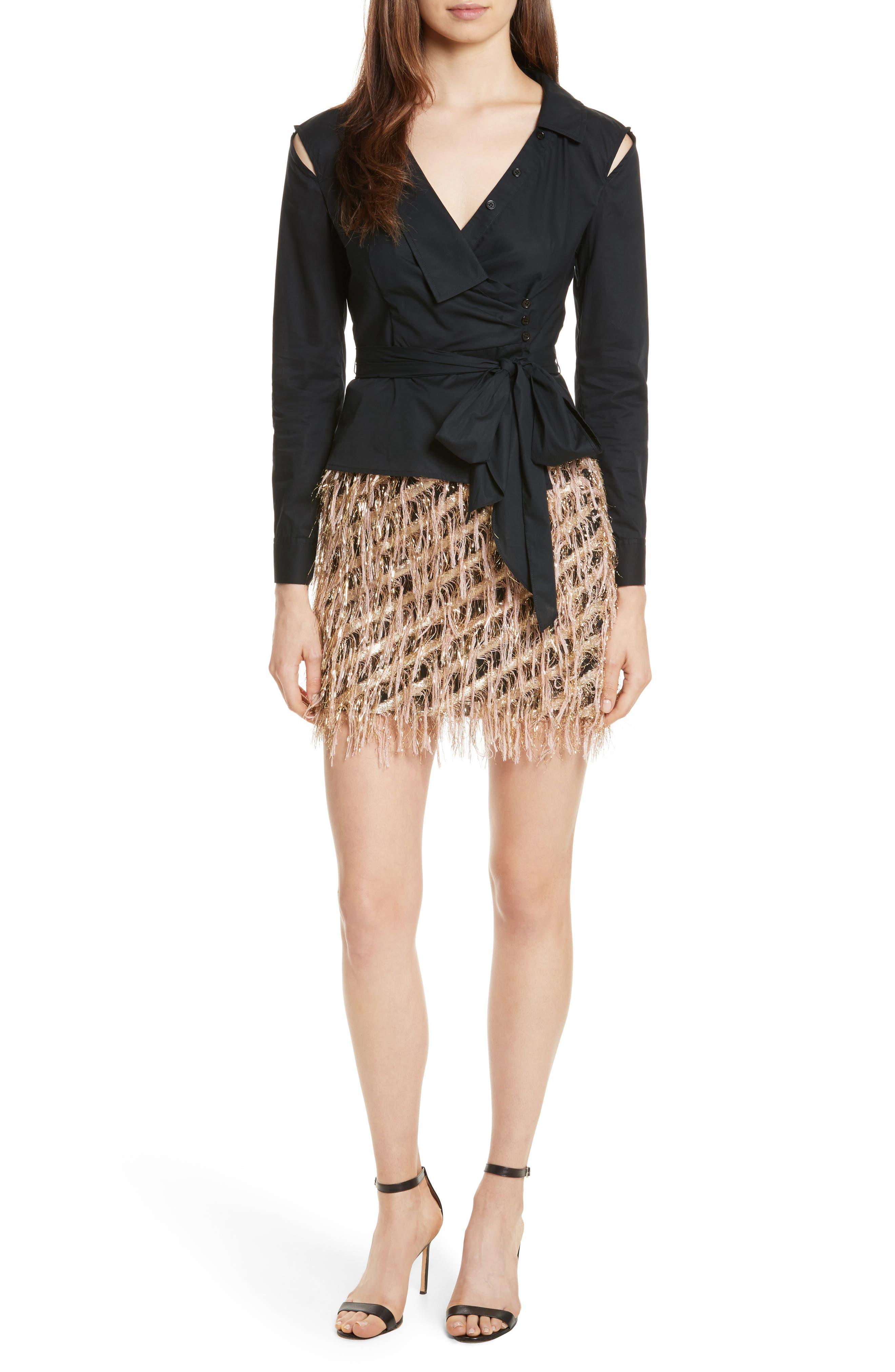 Alternate Image 7  - Milly Fil Coupé Diagonal Stripe Miniskirt