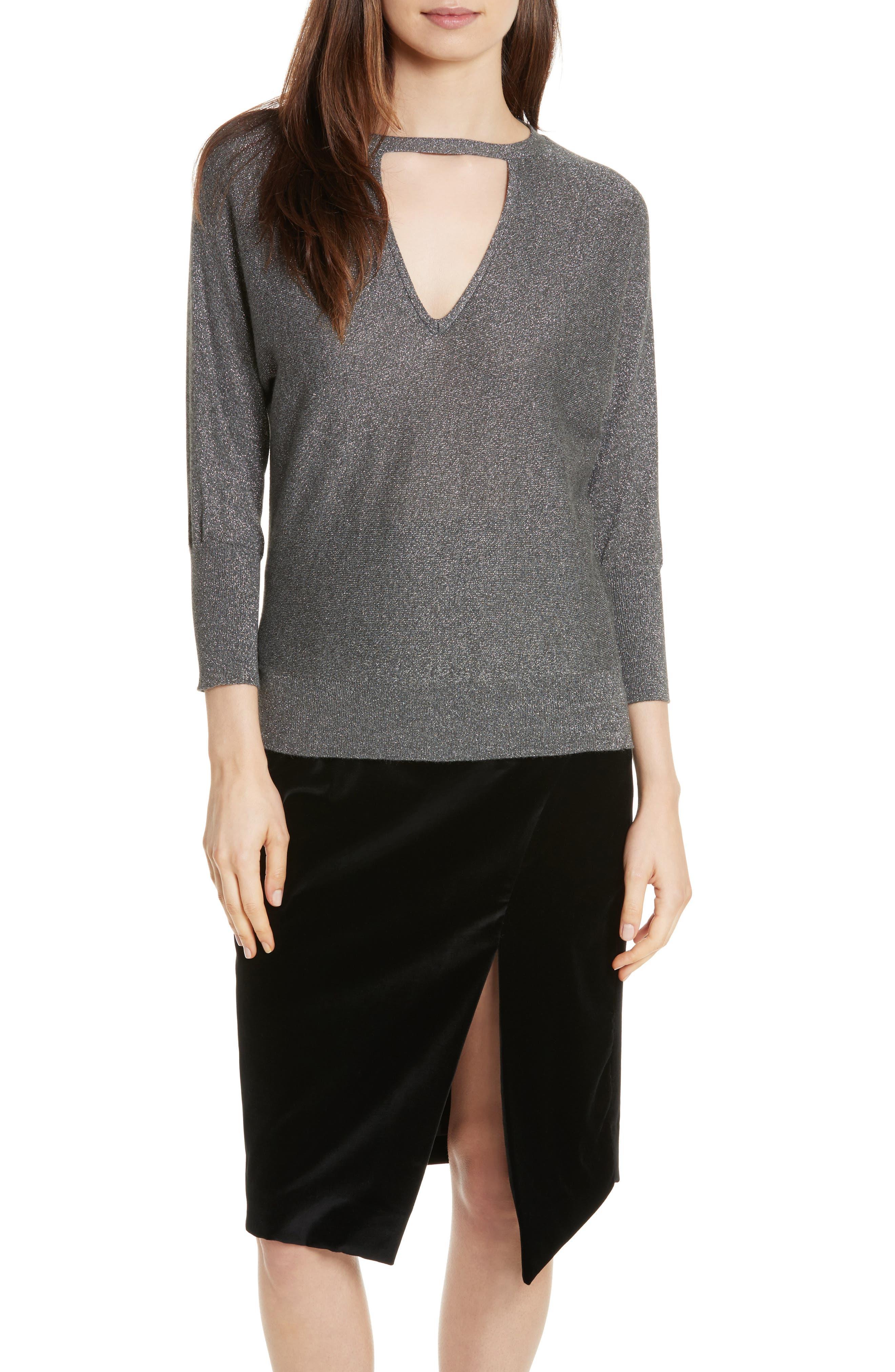 Main Image - Milly Metallic Knit Choker Neck Sweater